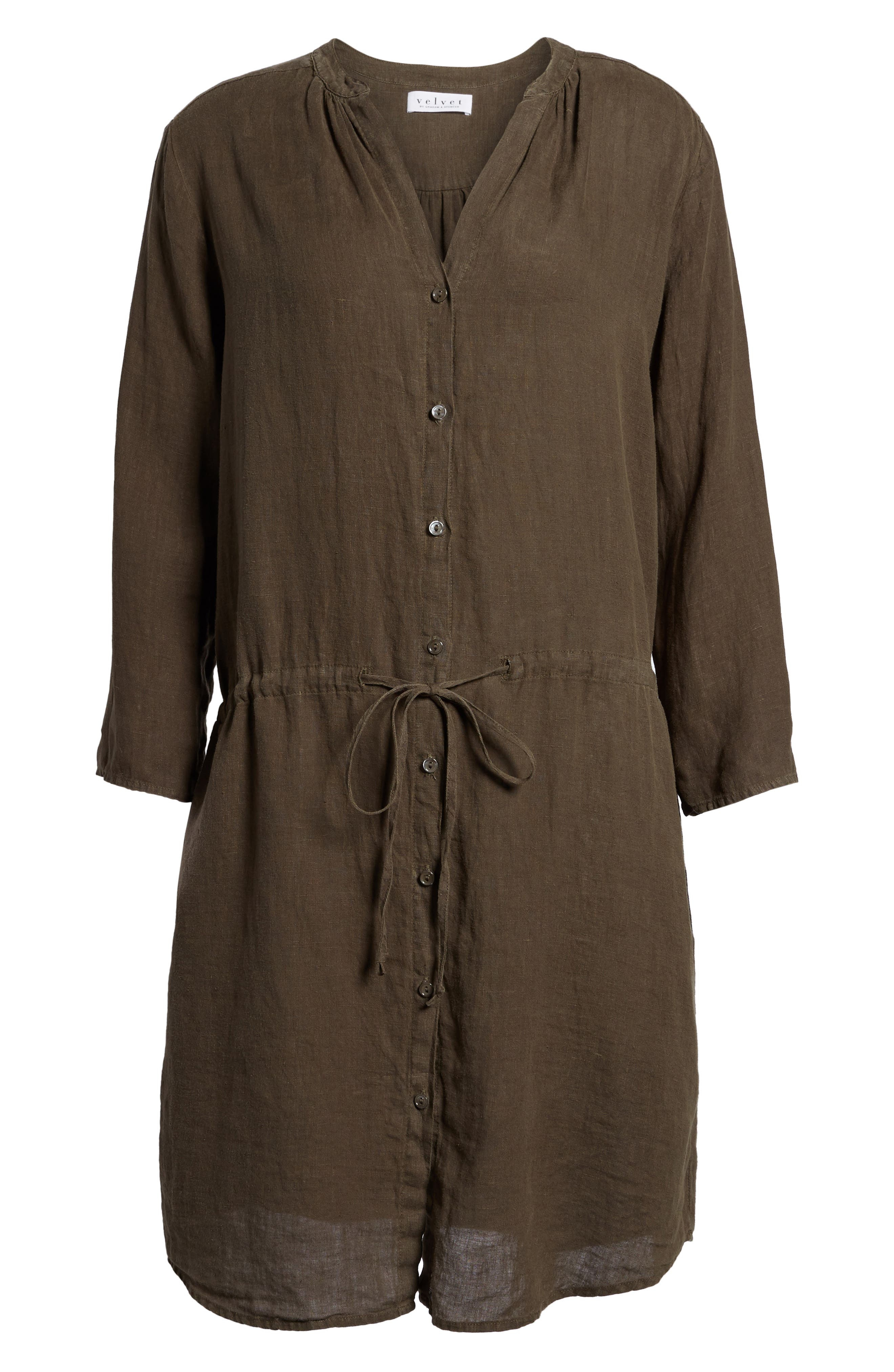 Linen Drawstring Shirtdress,                             Alternate thumbnail 6, color,                             337