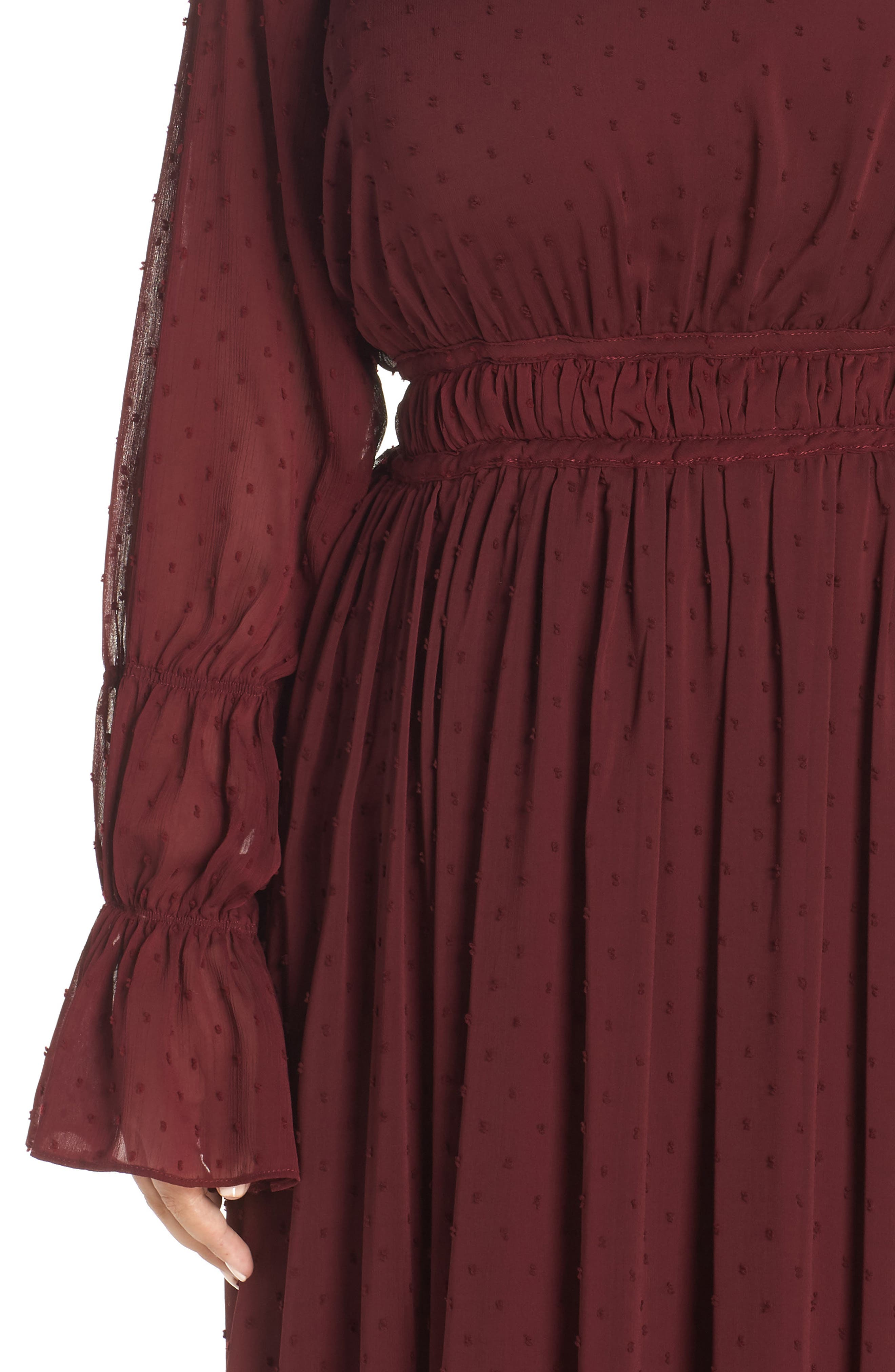 Dobby Maxi Dress,                             Alternate thumbnail 4, color,                             OXBLOOD