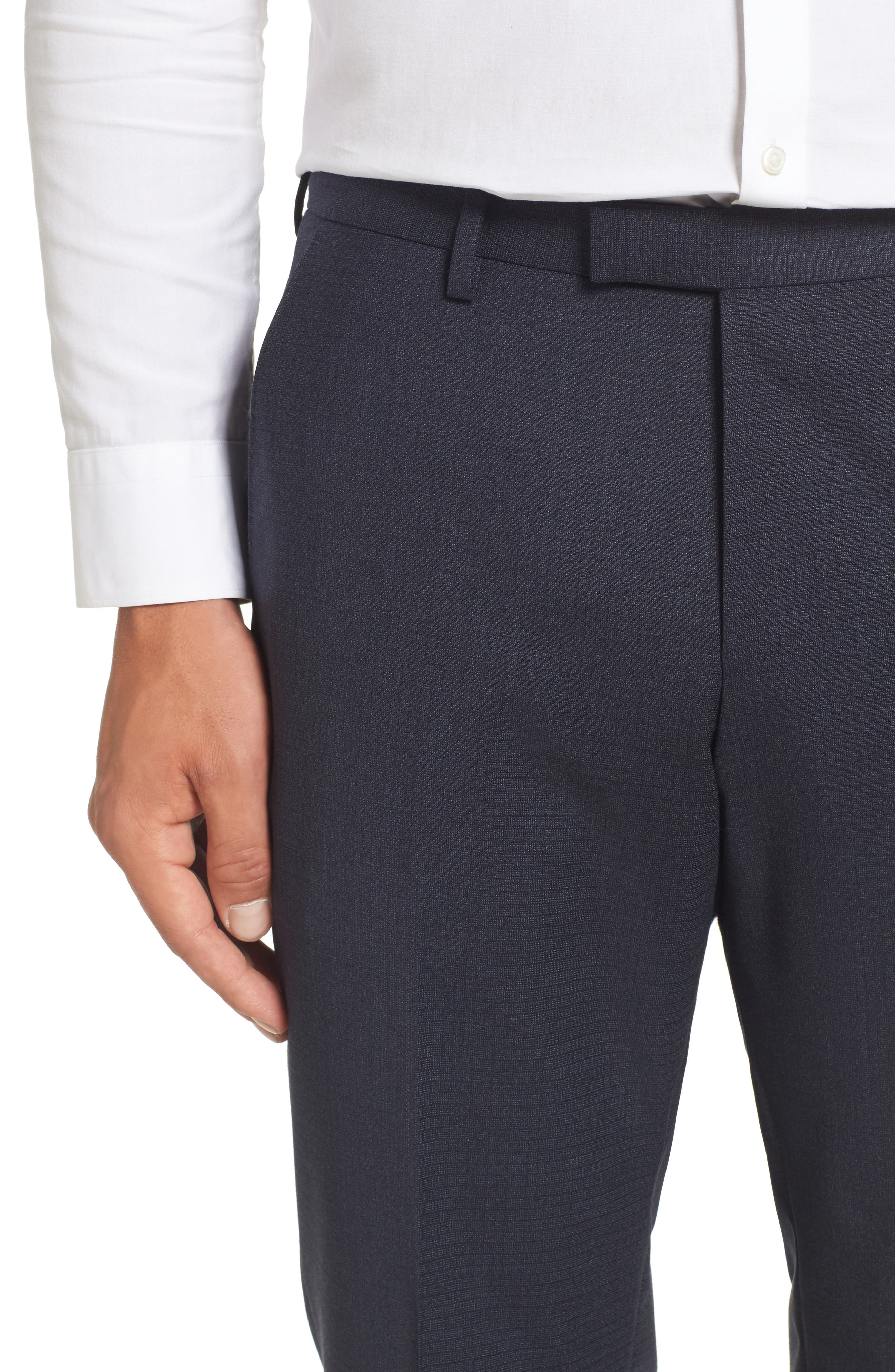 Leenon Classic Fit Plaid Stretch Wool Trousers,                             Alternate thumbnail 5, color,