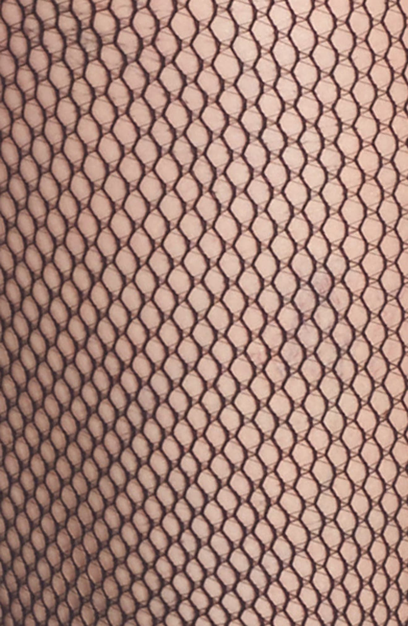 Luxe Fishnet Tights,                             Alternate thumbnail 2, color,                             BLACK