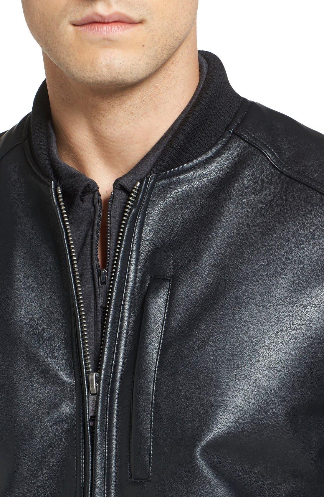 Faux Leather Varsity Jacket,                             Alternate thumbnail 5, color,                             001