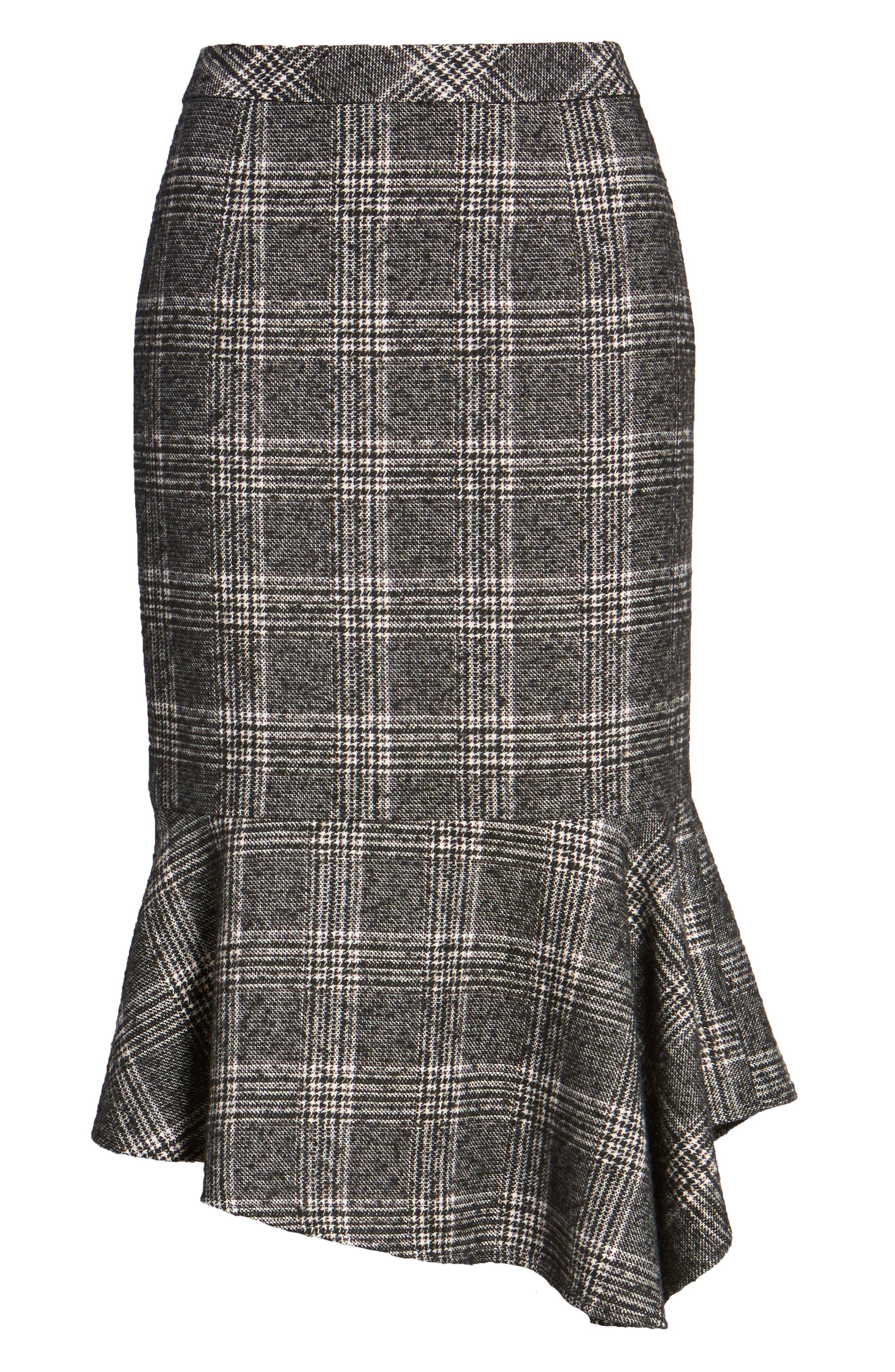 Asymmetrical Ruffle Hem Skirt,                             Alternate thumbnail 6, color,                             001
