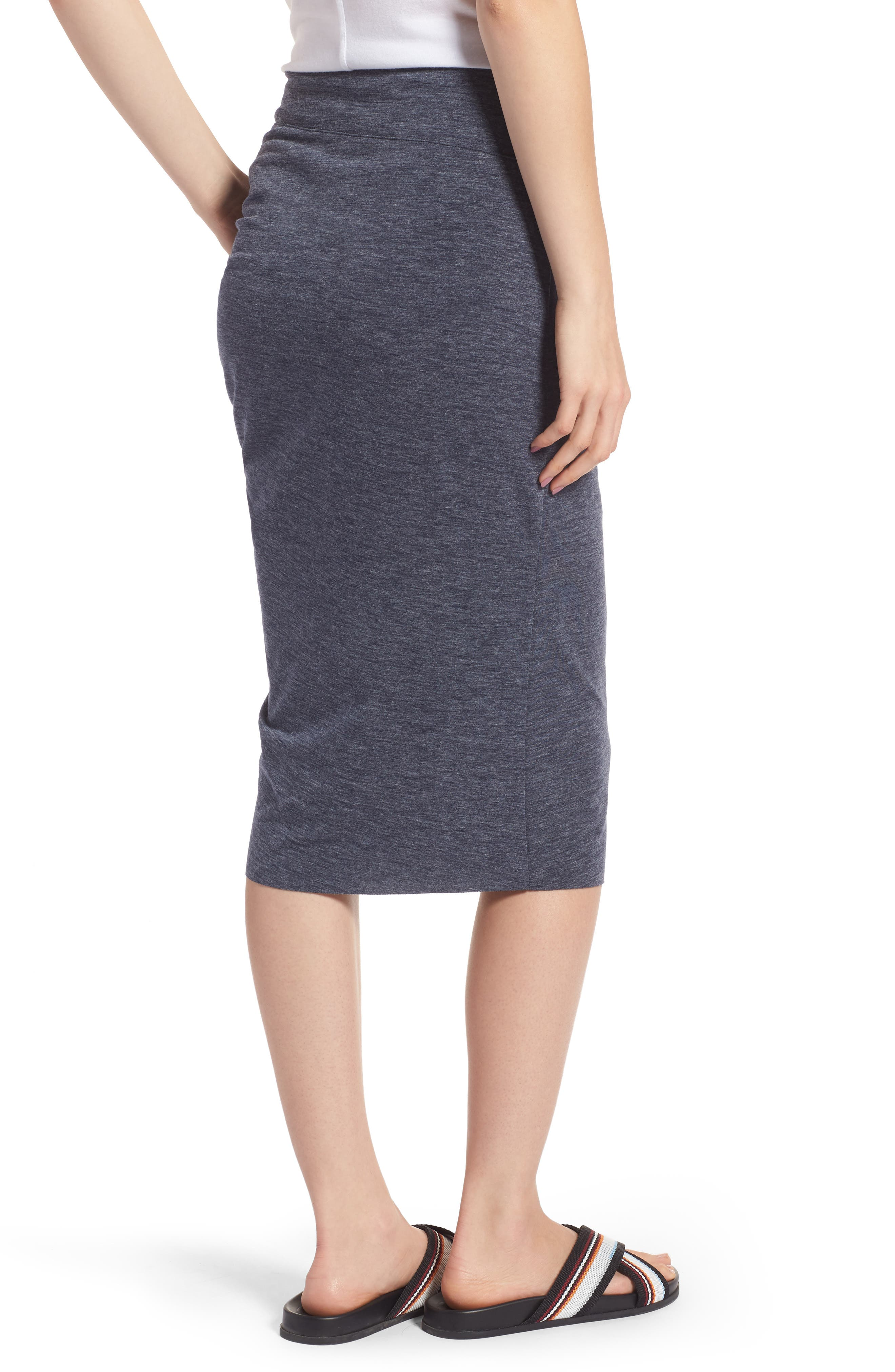 Ruched Knit Midi Skirt,                             Alternate thumbnail 4, color,