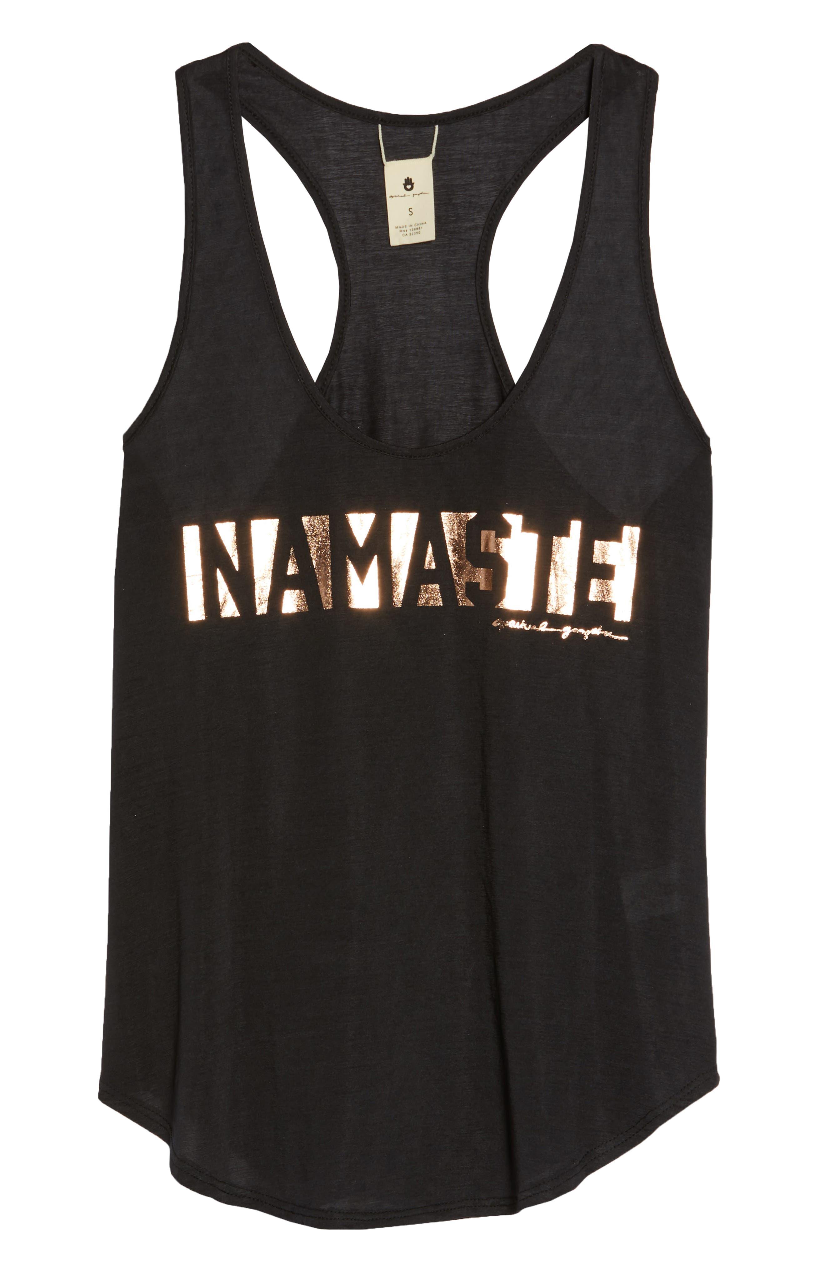 Namaste Racerback Tank,                             Alternate thumbnail 7, color,                             BLACK