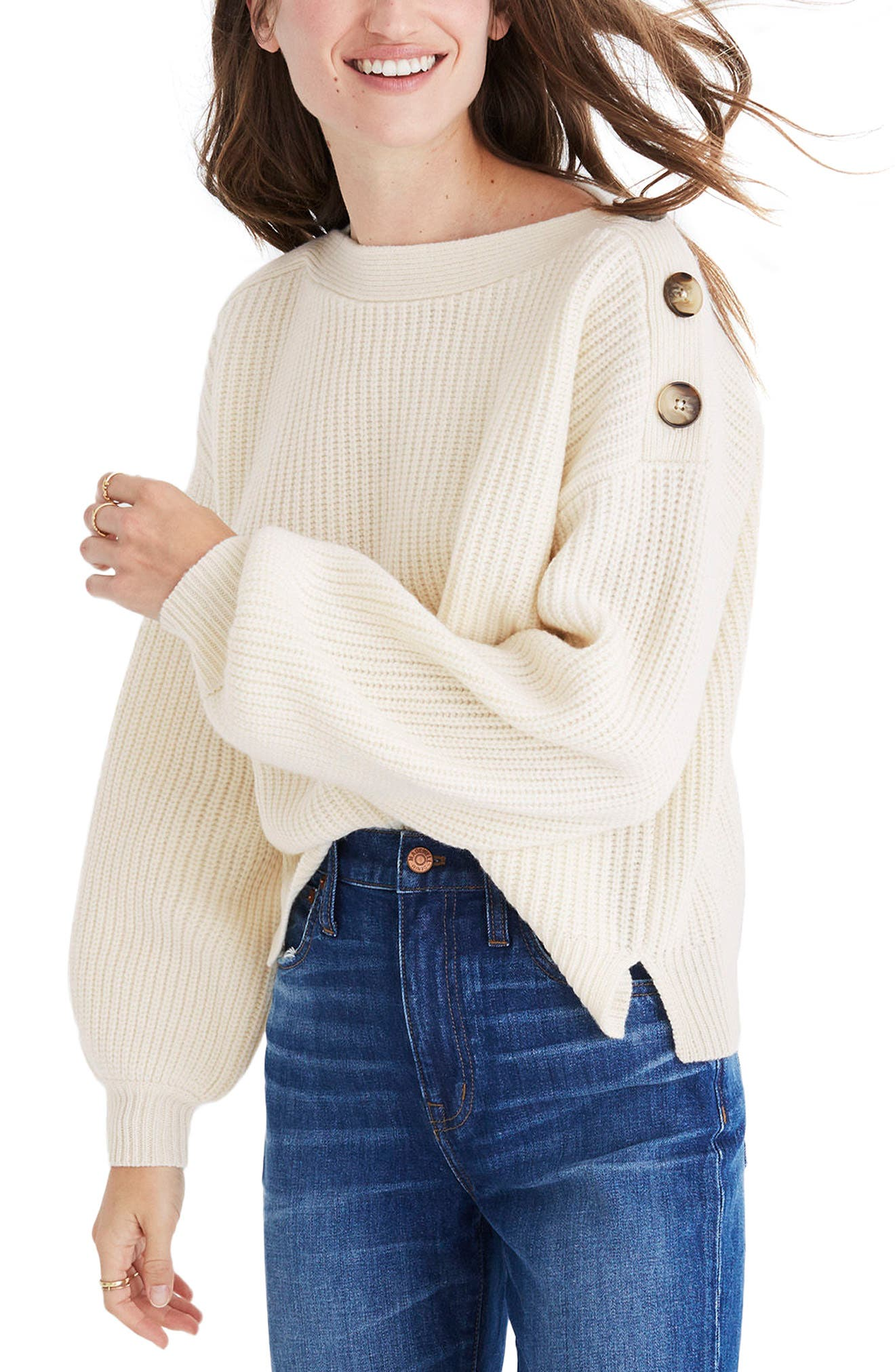 Boatneck Bubble Sleeve Sweater,                         Main,                         color, 100