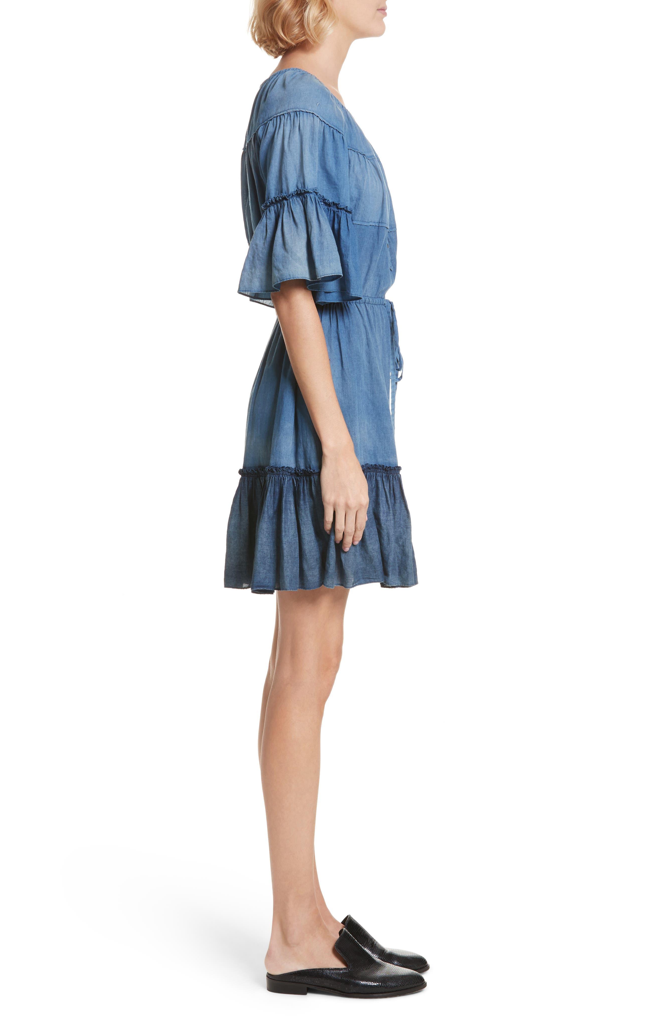 Ruffle Tissue Denim Dress,                             Alternate thumbnail 3, color,                             453