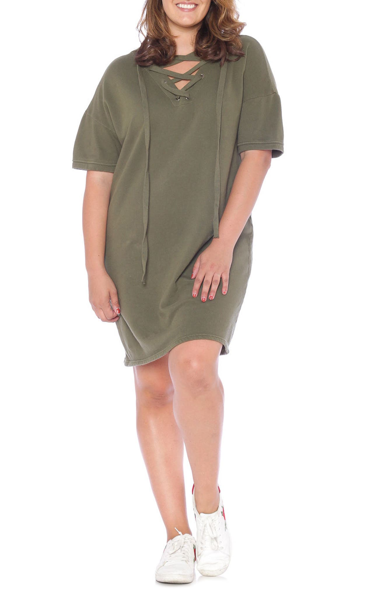 Lace-Up Hoodie Dress,                             Alternate thumbnail 17, color,