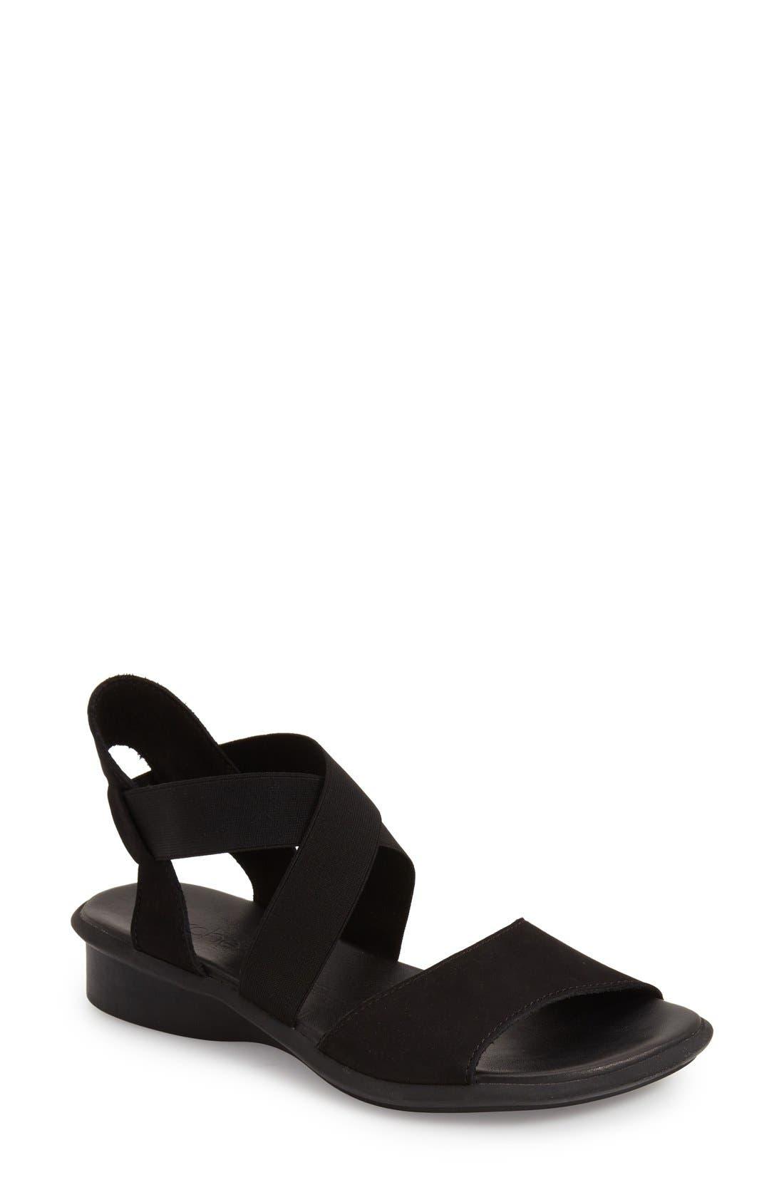 'Satia' Sandal,                         Main,                         color, BLACK NUBUCK LEATHER