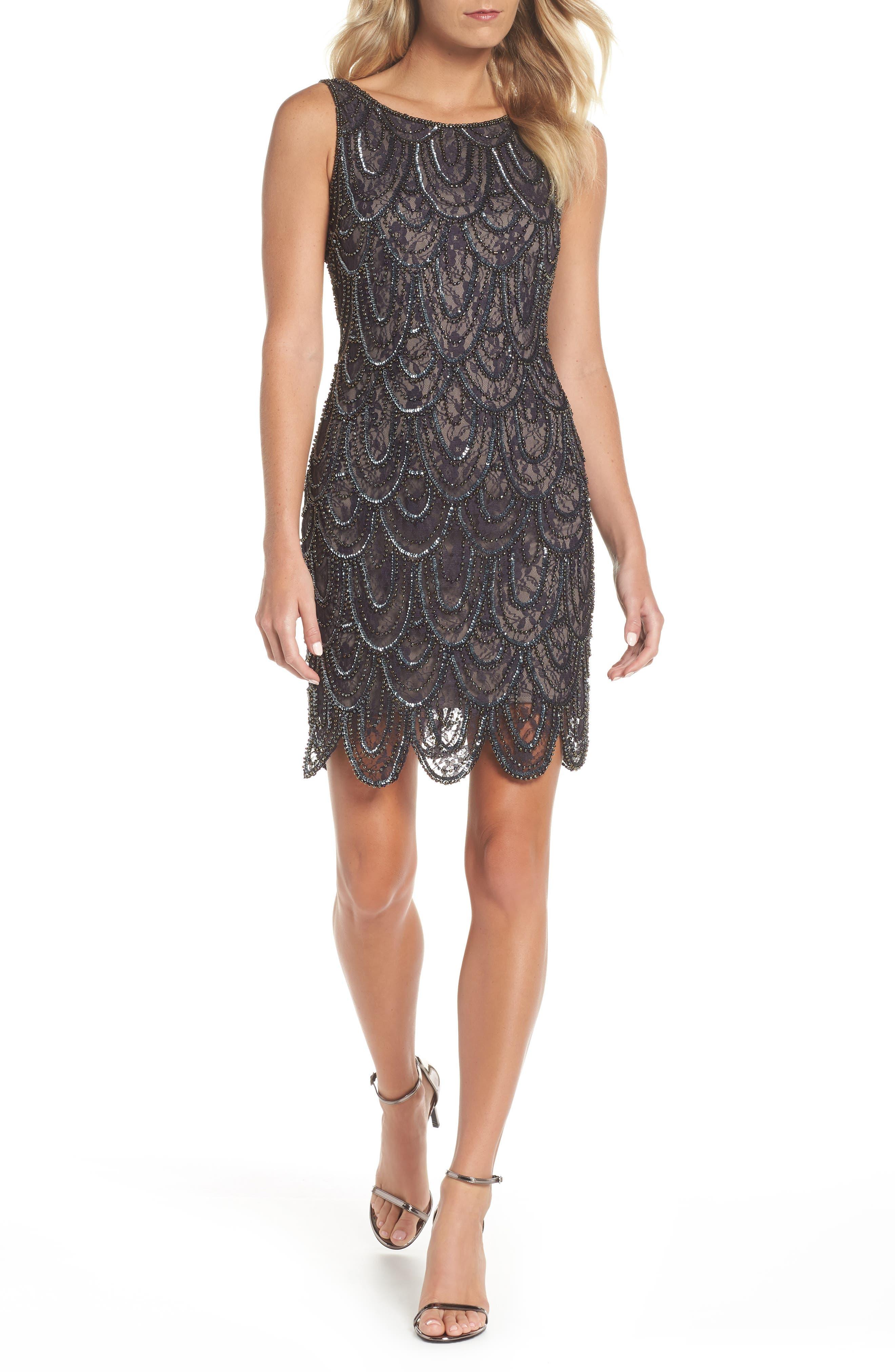 Beaded Lace Sheath Dress,                             Main thumbnail 1, color,                             SUEDE