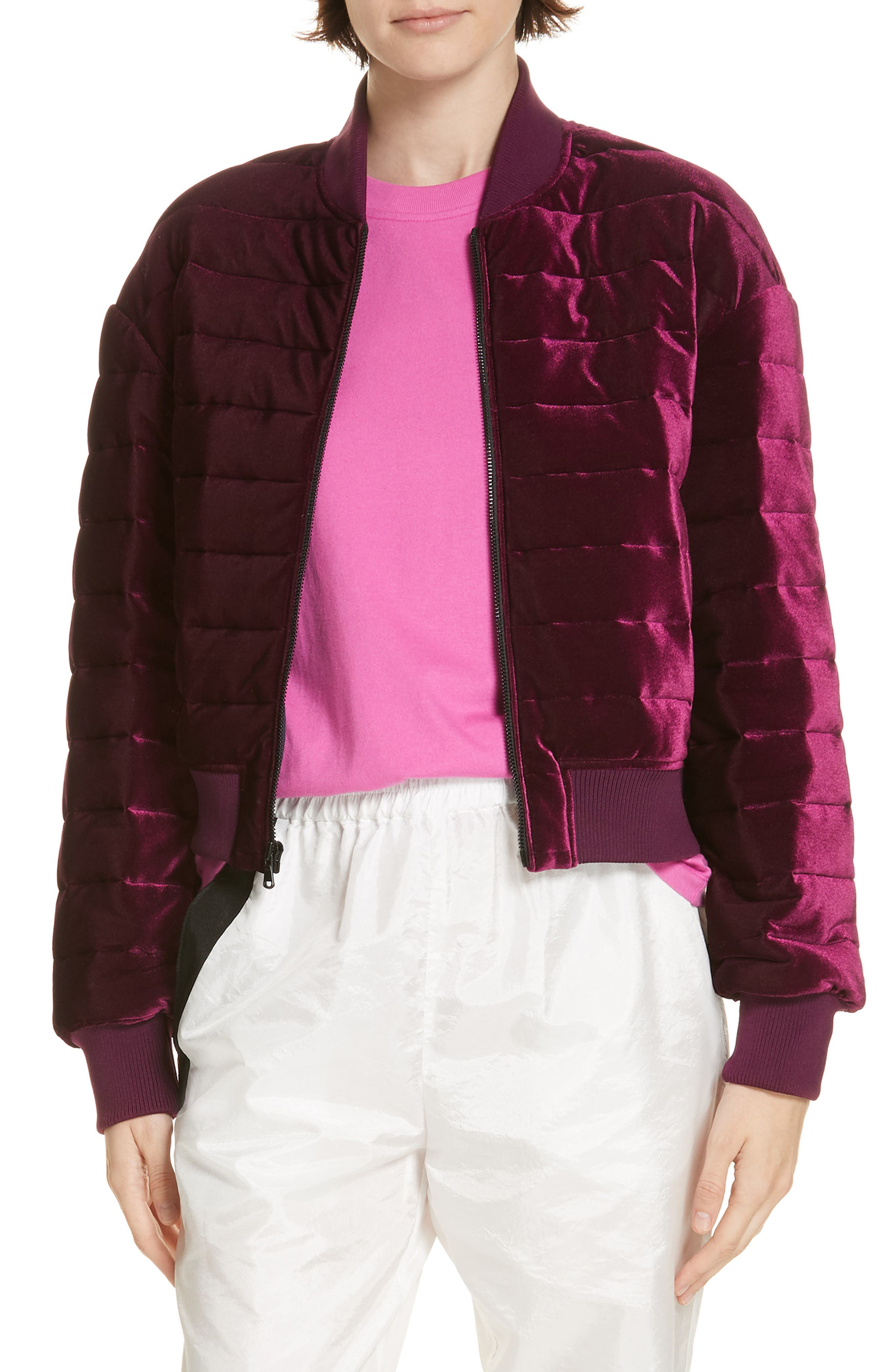 Quilted Velvet Bomber Jacket,                             Main thumbnail 1, color,                             501