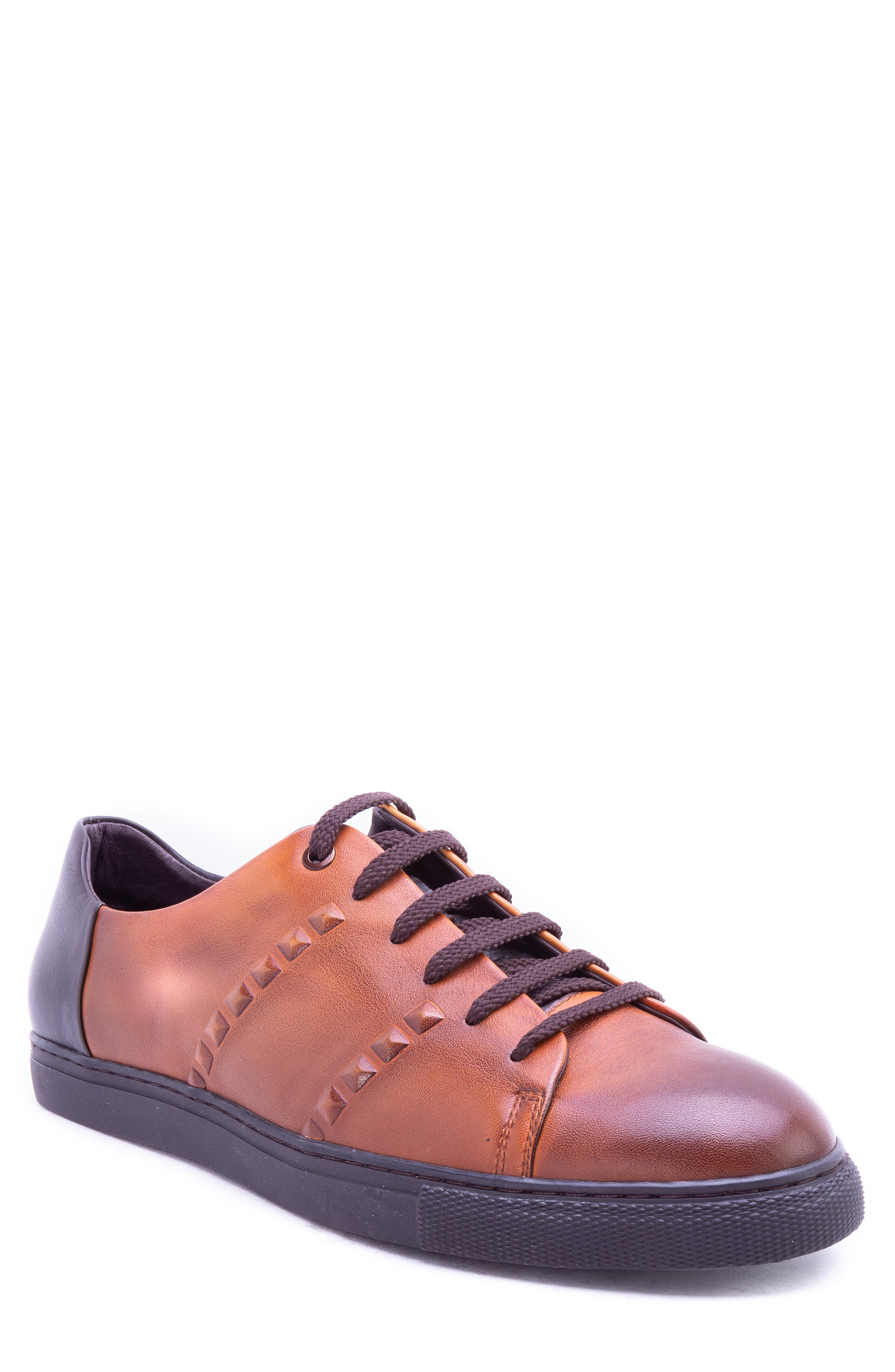 Strozzi Studded Sneaker,                         Main,                         color, COGNAC LEATHER