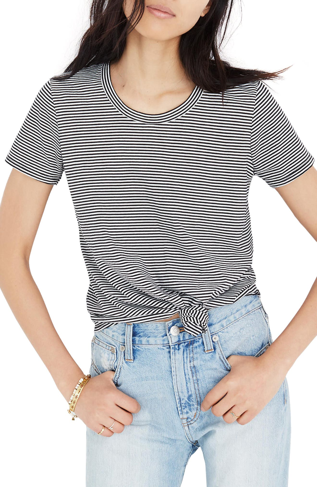 Stripe Knot Front Tee,                             Main thumbnail 1, color,                             009