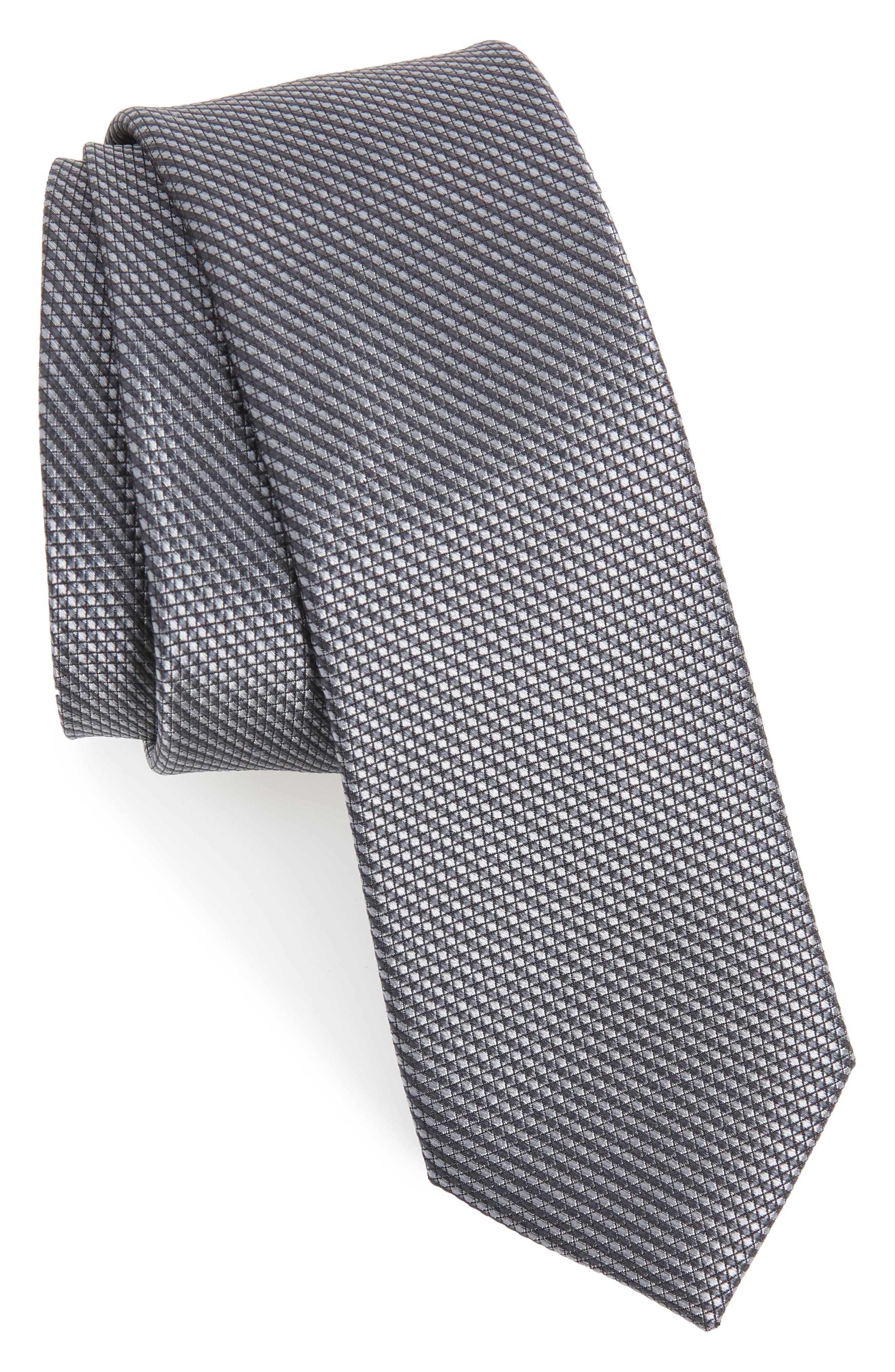 Solid Skinny Silk Tie,                         Main,                         color, GREY