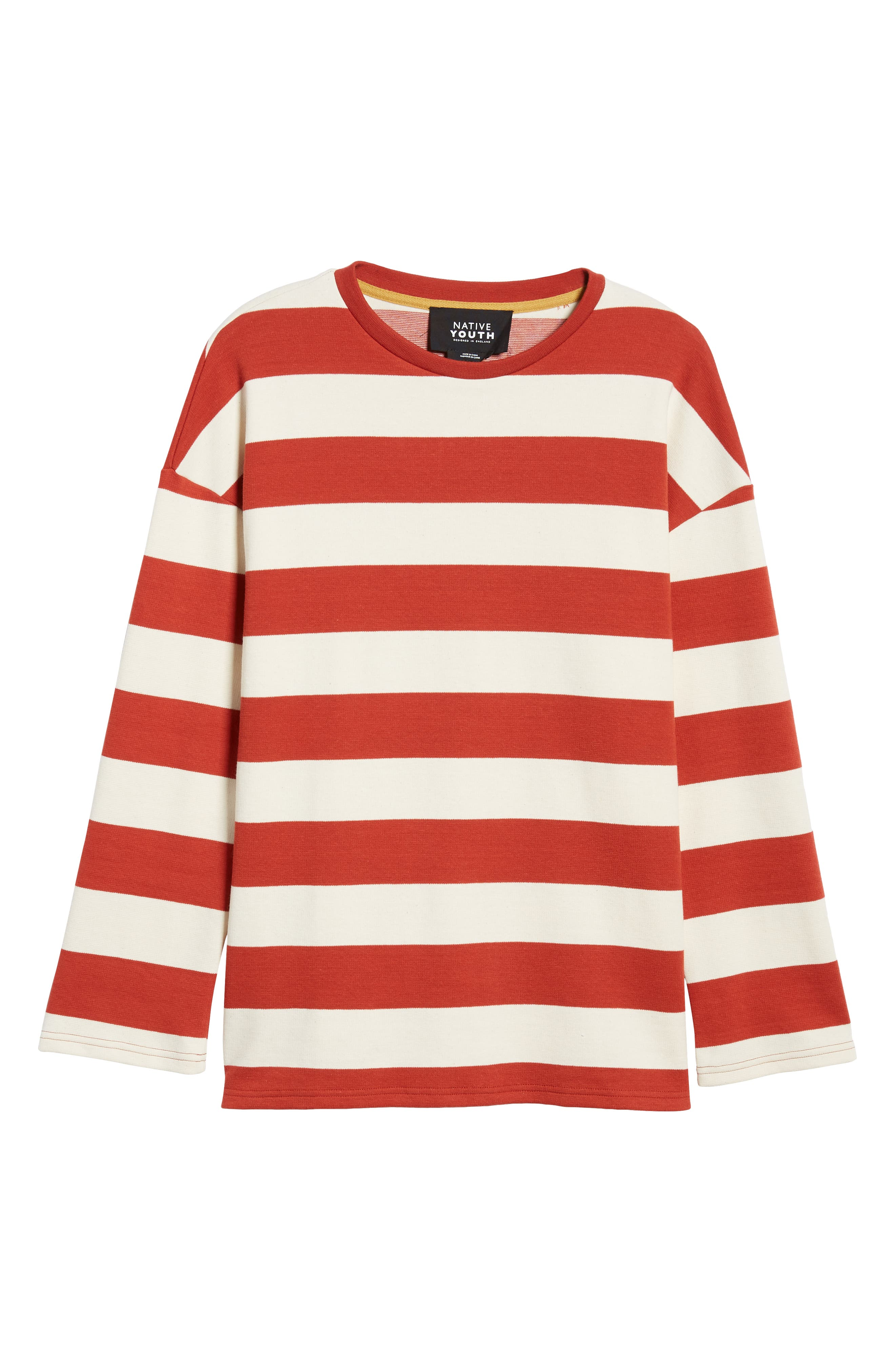 Stripe Crewneck Sweatshirt,                             Alternate thumbnail 6, color,                             ORANGE