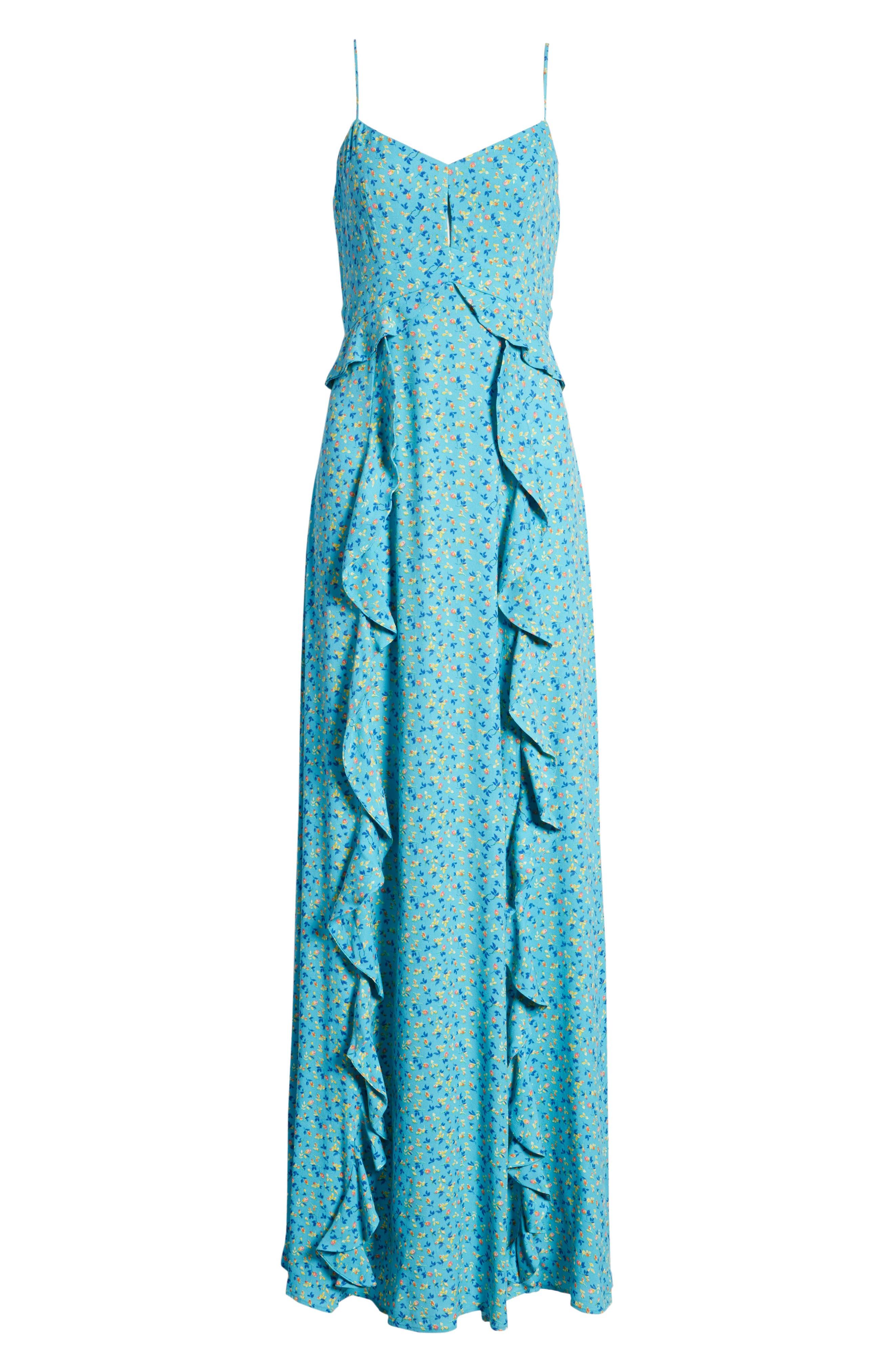 Kiki Ruffle Maxi Dress,                             Alternate thumbnail 7, color,                             400