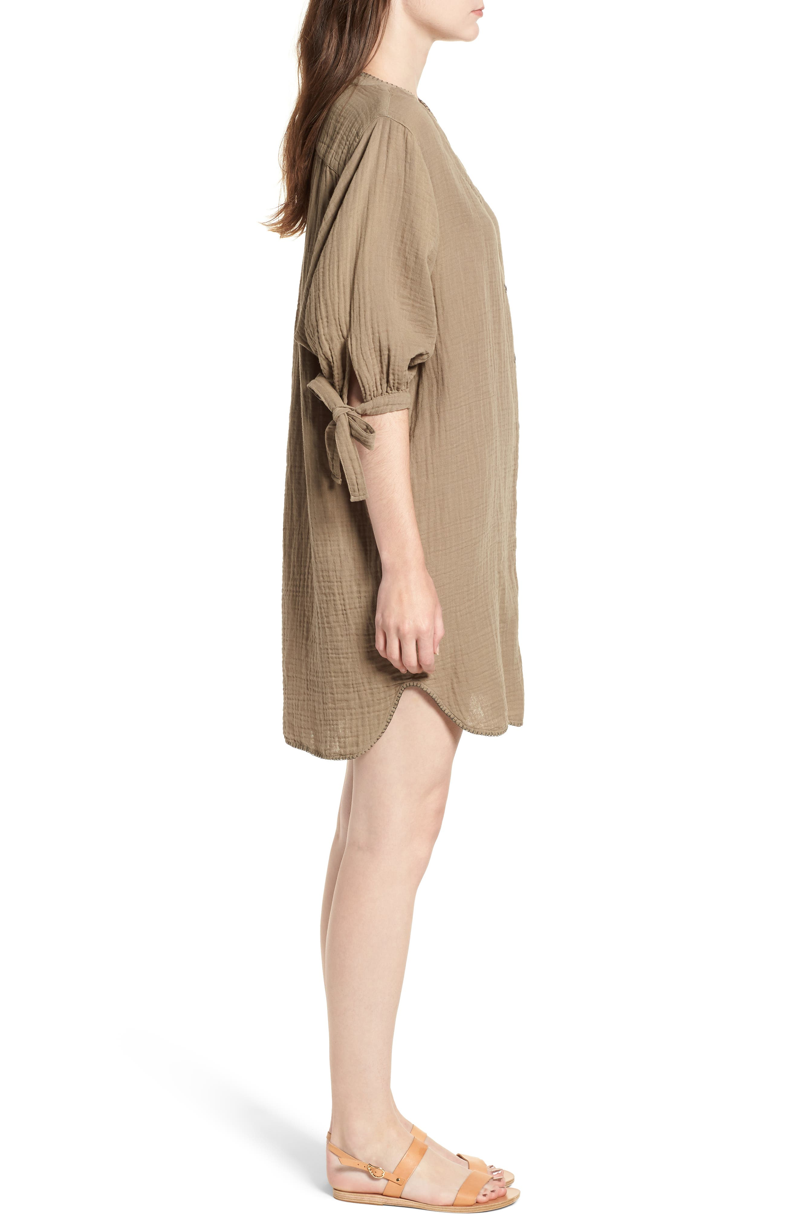 Whipstitch Tie Sleeve Shirtdress,                             Alternate thumbnail 3, color,                             OLIVE