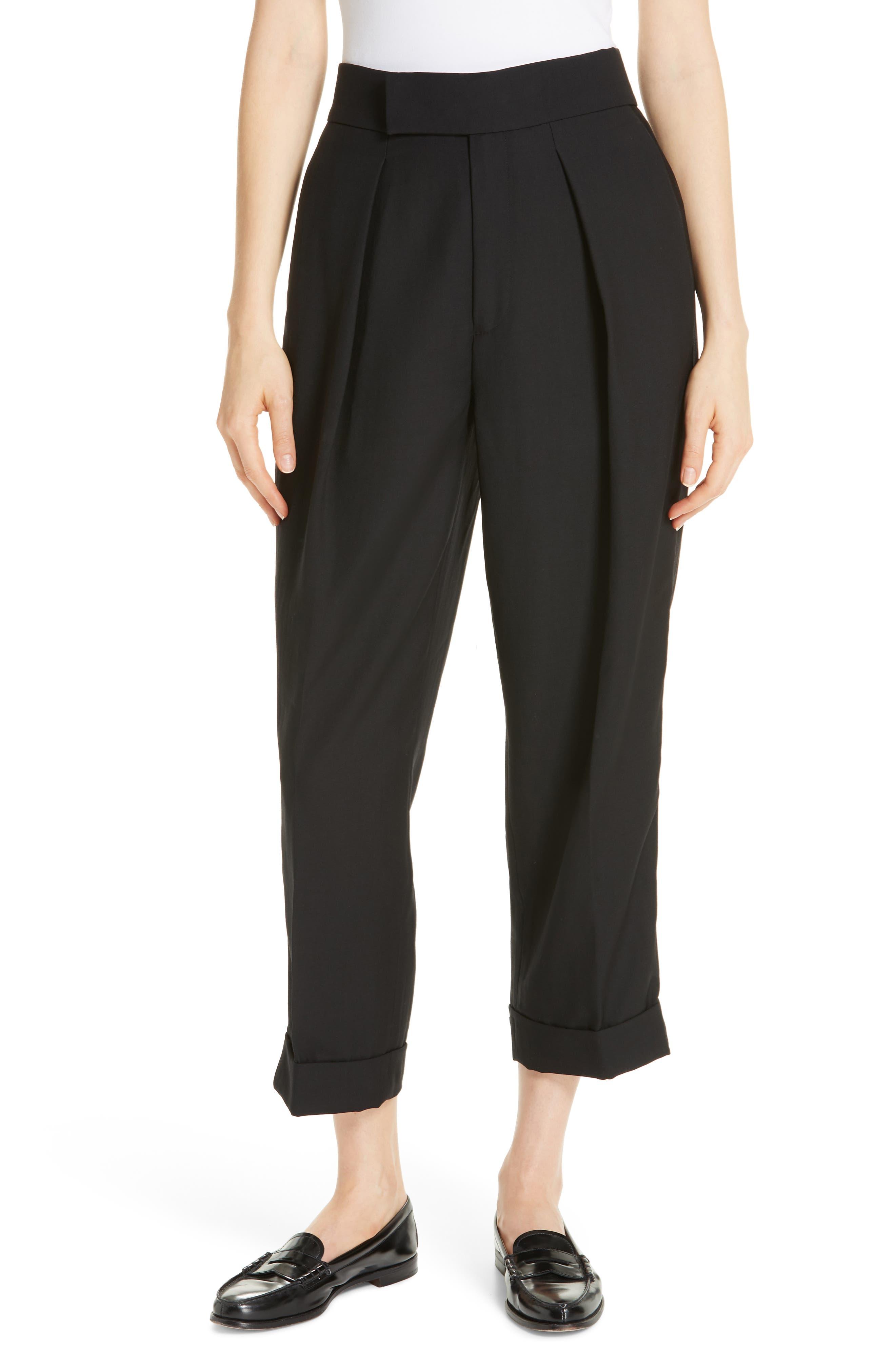 Satin Stripe Wool Crop Pants,                         Main,                         color, POLO BLACK