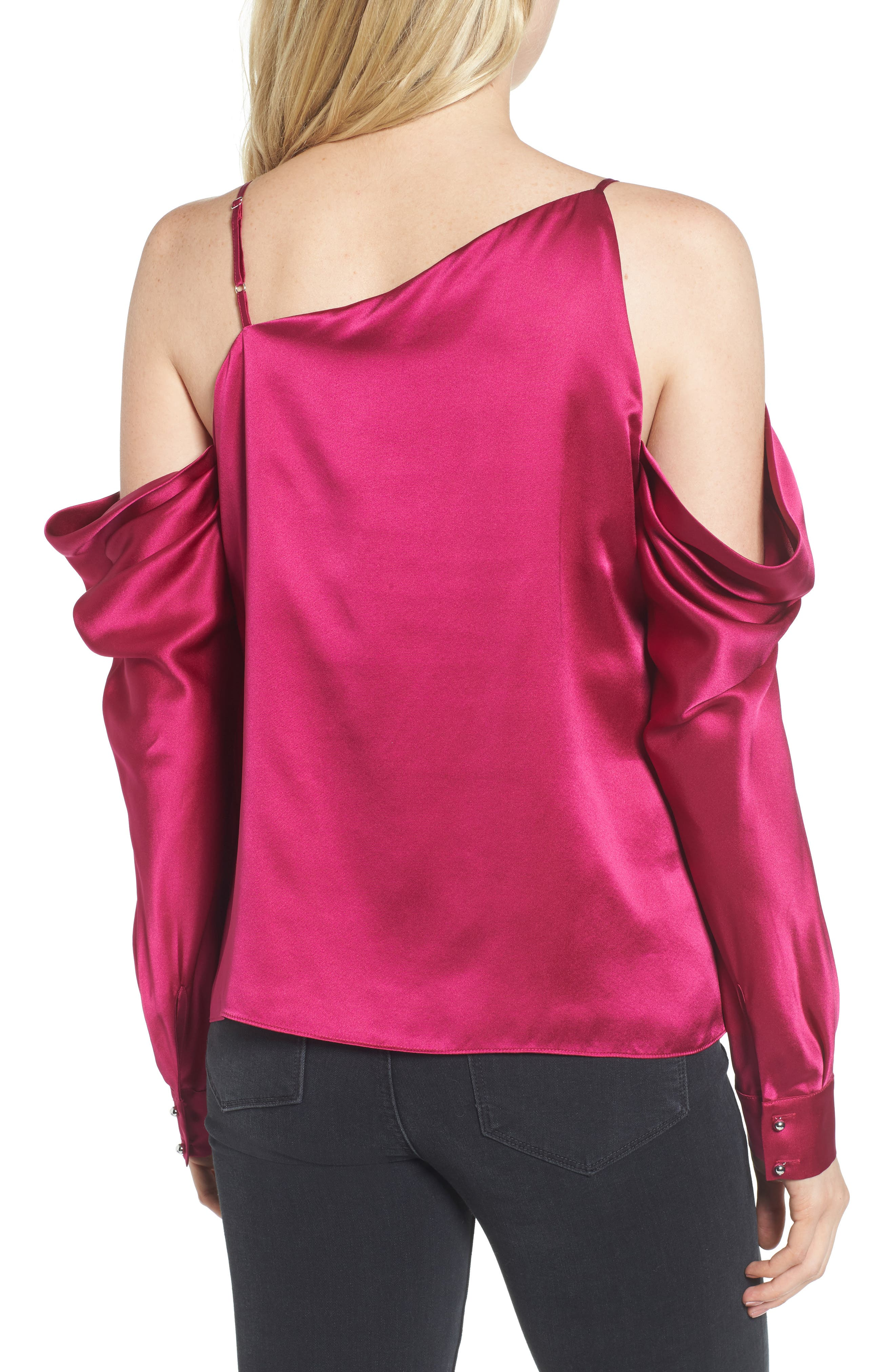 Amelia Asymmetrical Silk Blouse,                             Alternate thumbnail 2, color,