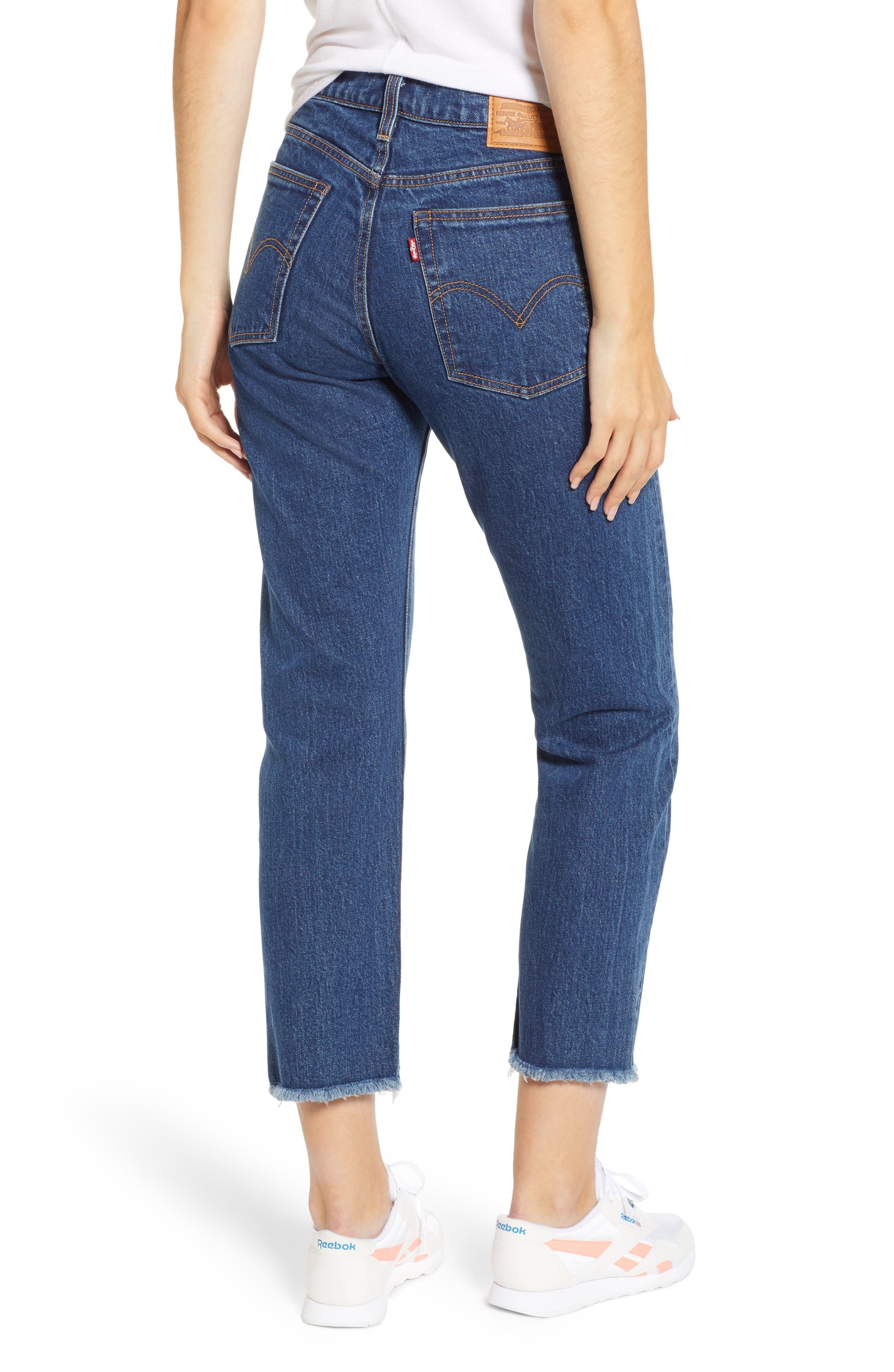 Wedgie High Waist Ankle Straight Leg Jeans,                             Alternate thumbnail 2, color,                             BELOW THE BELT