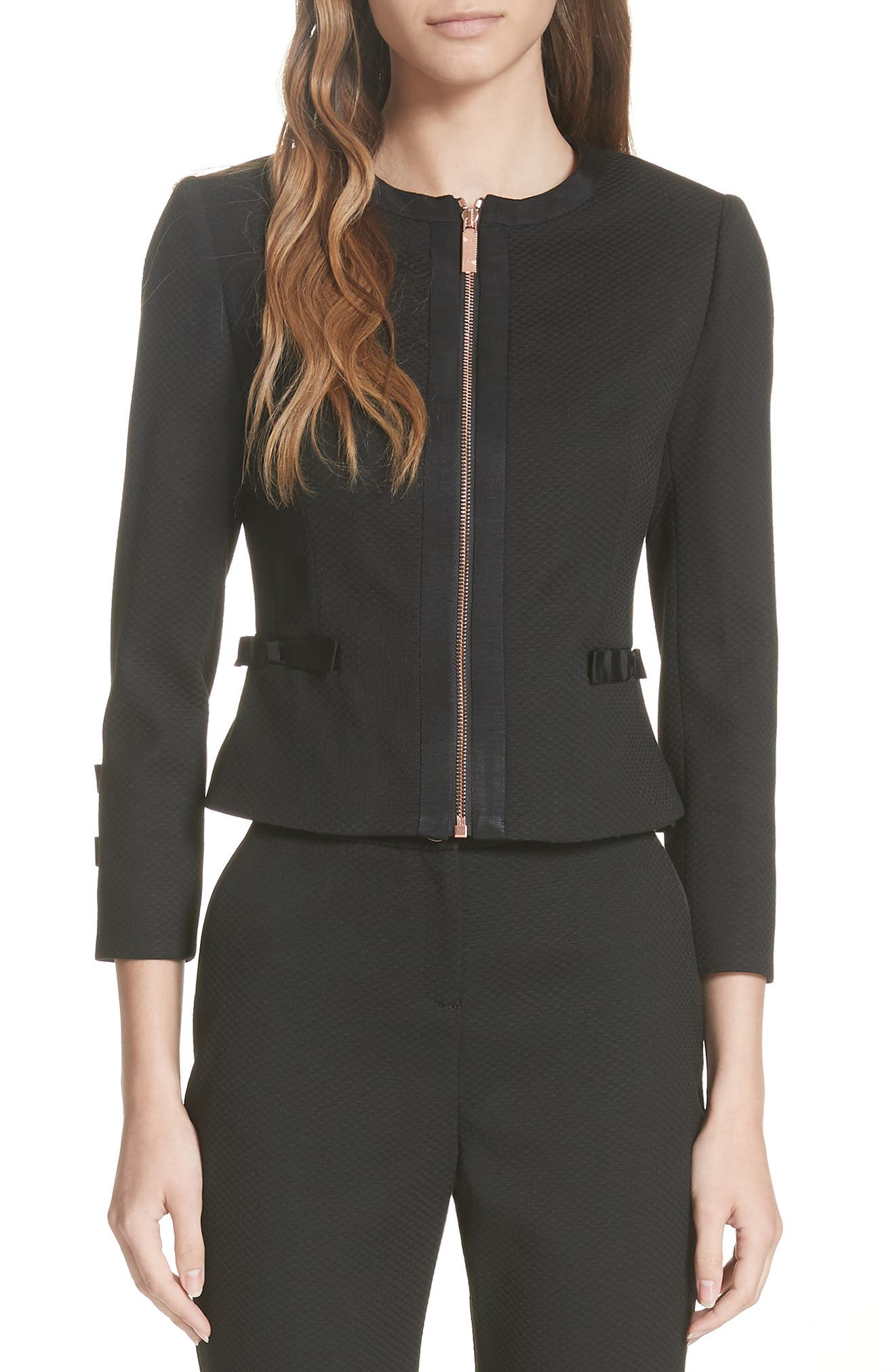 Ted Working Title Nadae Cropped Textured Jacket,                         Main,                         color, BLACK