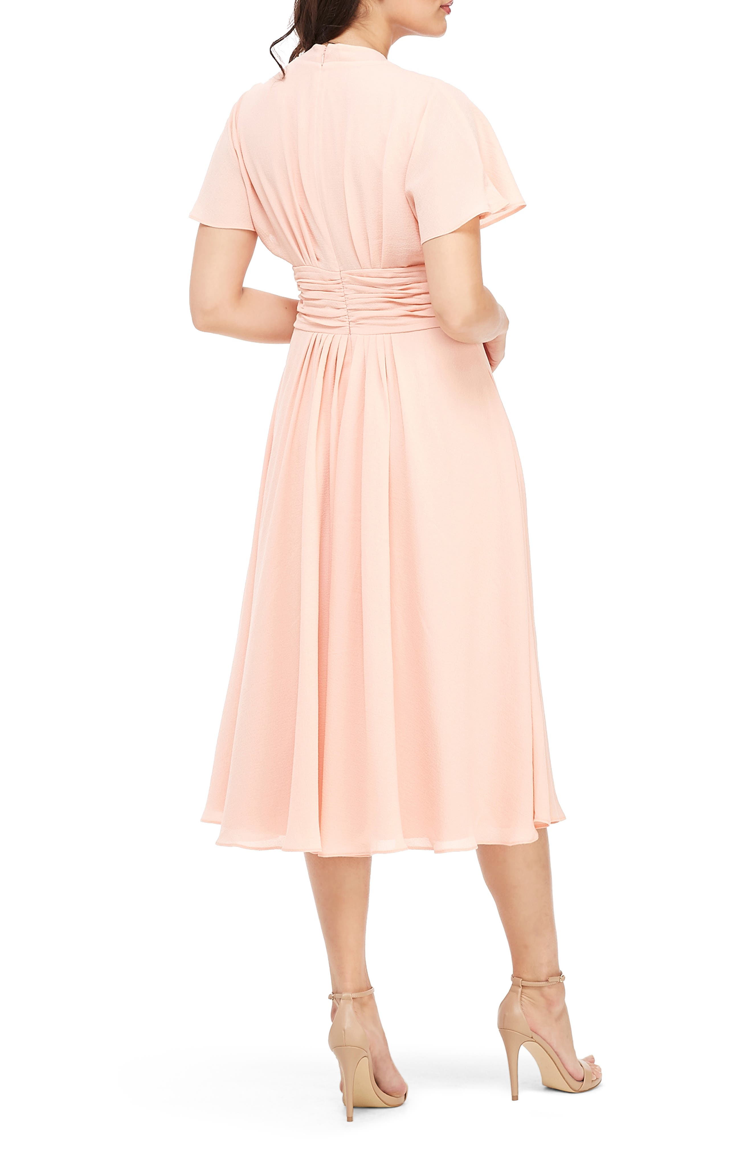 GAL MEETS GLAM COLLECTION,                             Jane Tie Waist Midi Dress,                             Alternate thumbnail 2, color,                             CORAL