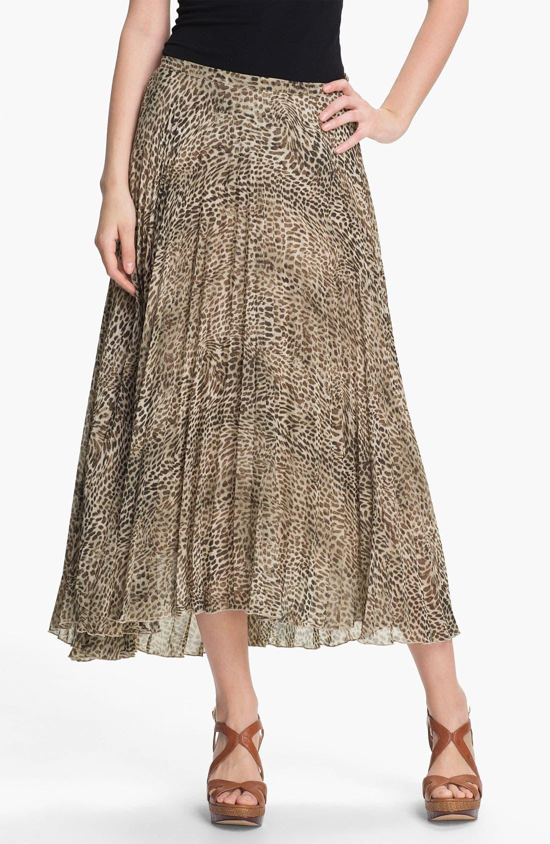 Cheetah Print Crystal Pleat Midi Skirt,                             Main thumbnail 1, color,                             271