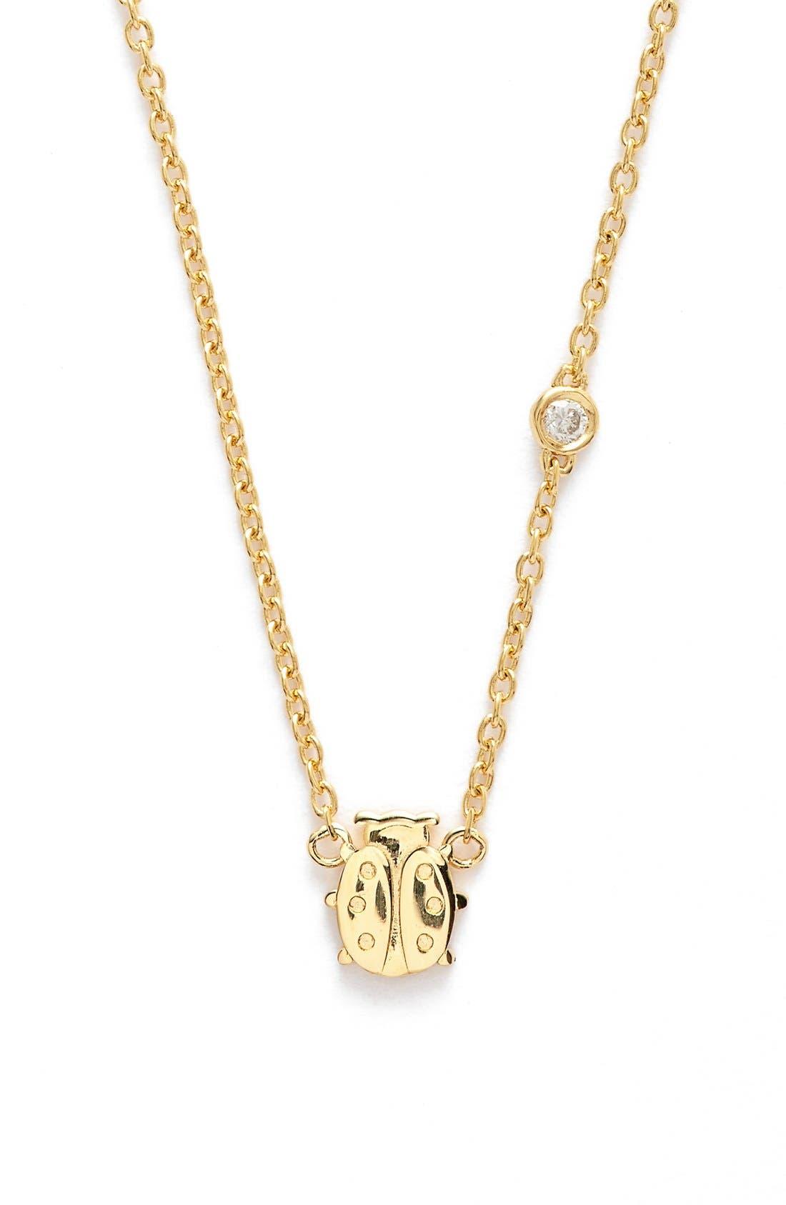 Ladybug Necklace,                         Main,                         color, GOLD