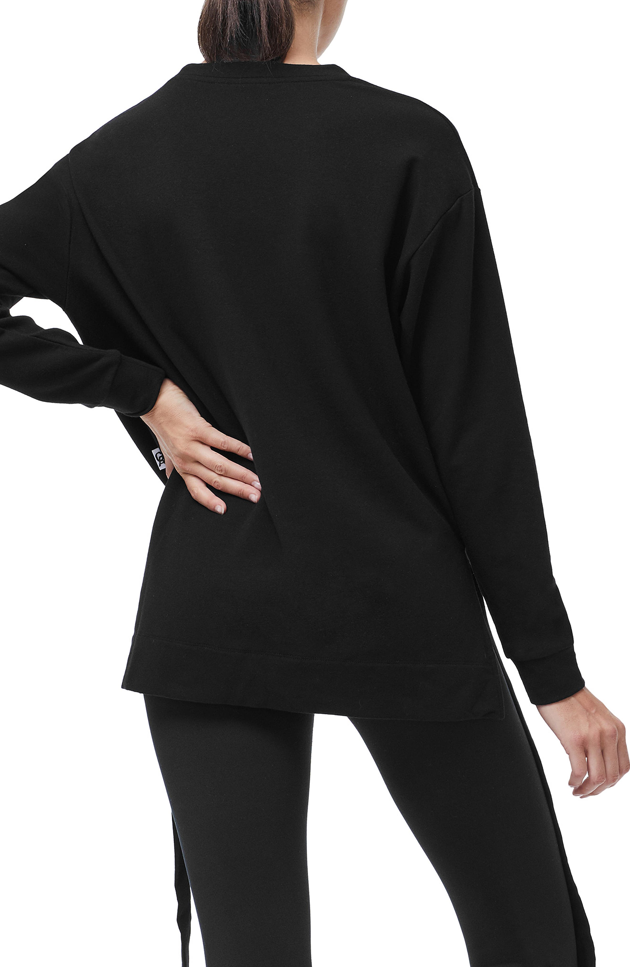 Ruched Hem High/Low Sweatshirt,                             Alternate thumbnail 3, color,                             001
