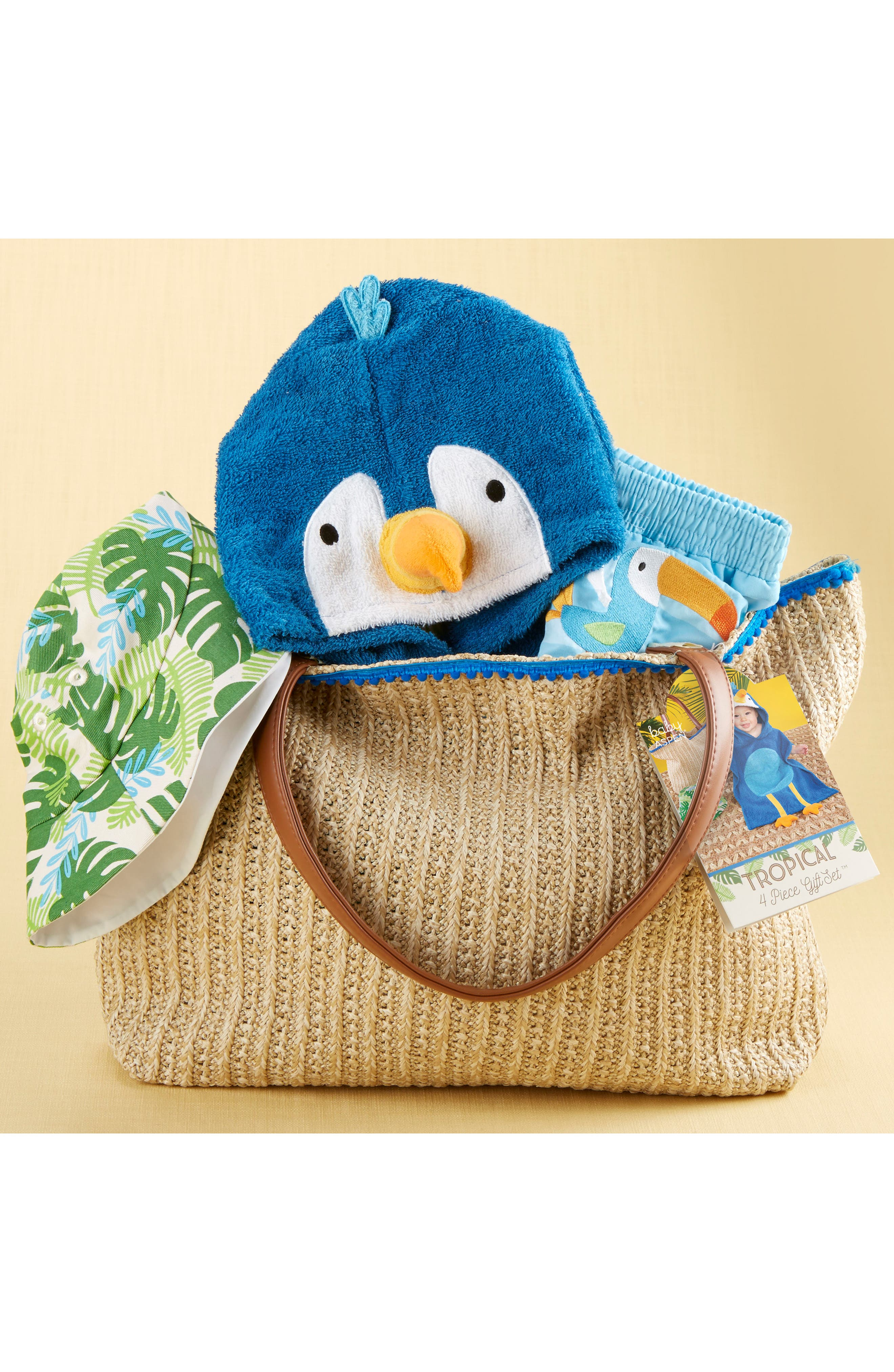 Tropical Hooded Towel, Swimsuit, Sun Hat & Tote Set,                             Alternate thumbnail 3, color,                             BLUE/ GREY/ WHITE/ BROWN