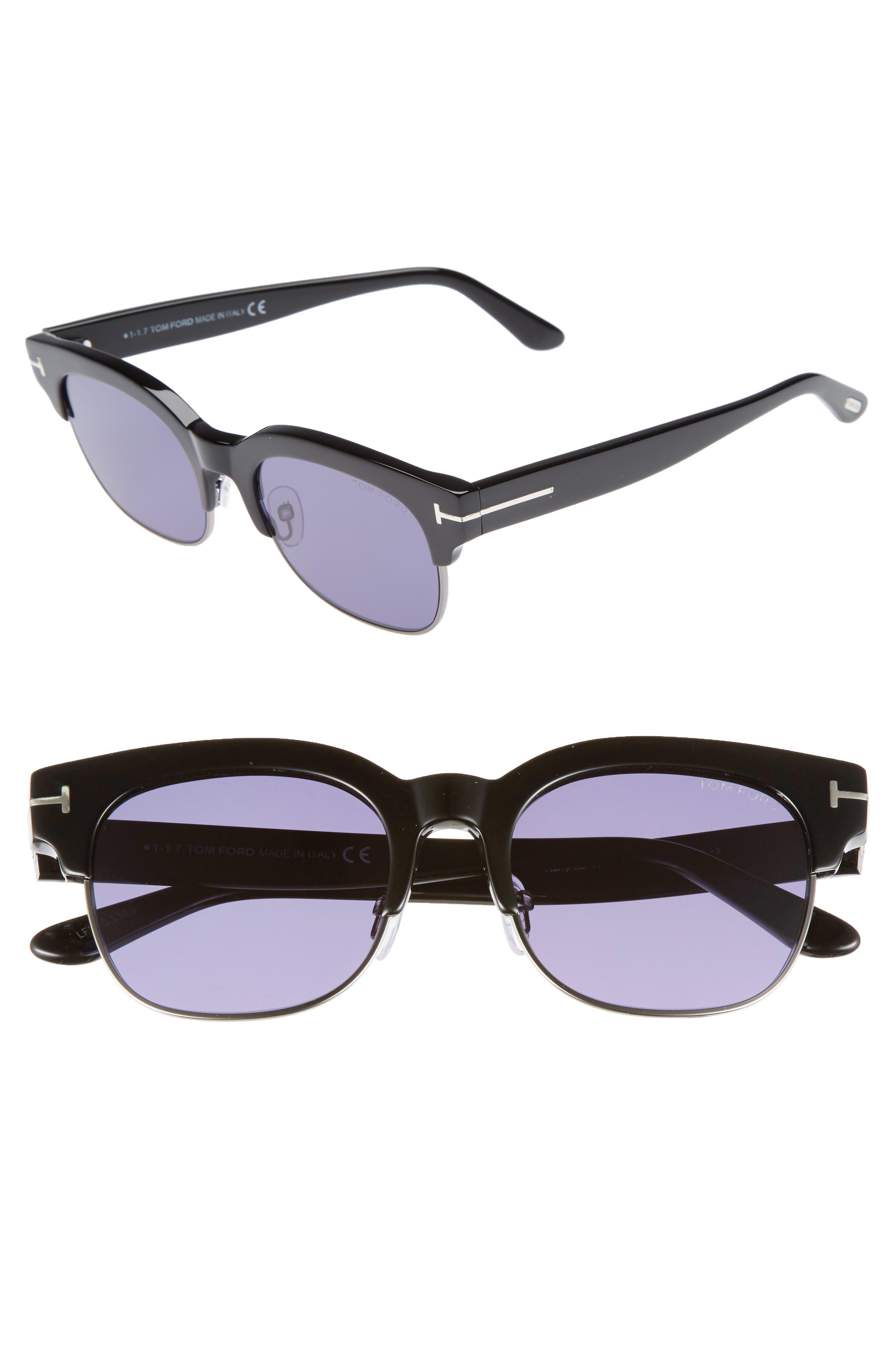 Harry 53mm Half-Rim Sunglasses,                             Main thumbnail 1, color,                             BLACK/ DARK RUTHENIUM/ BLUE