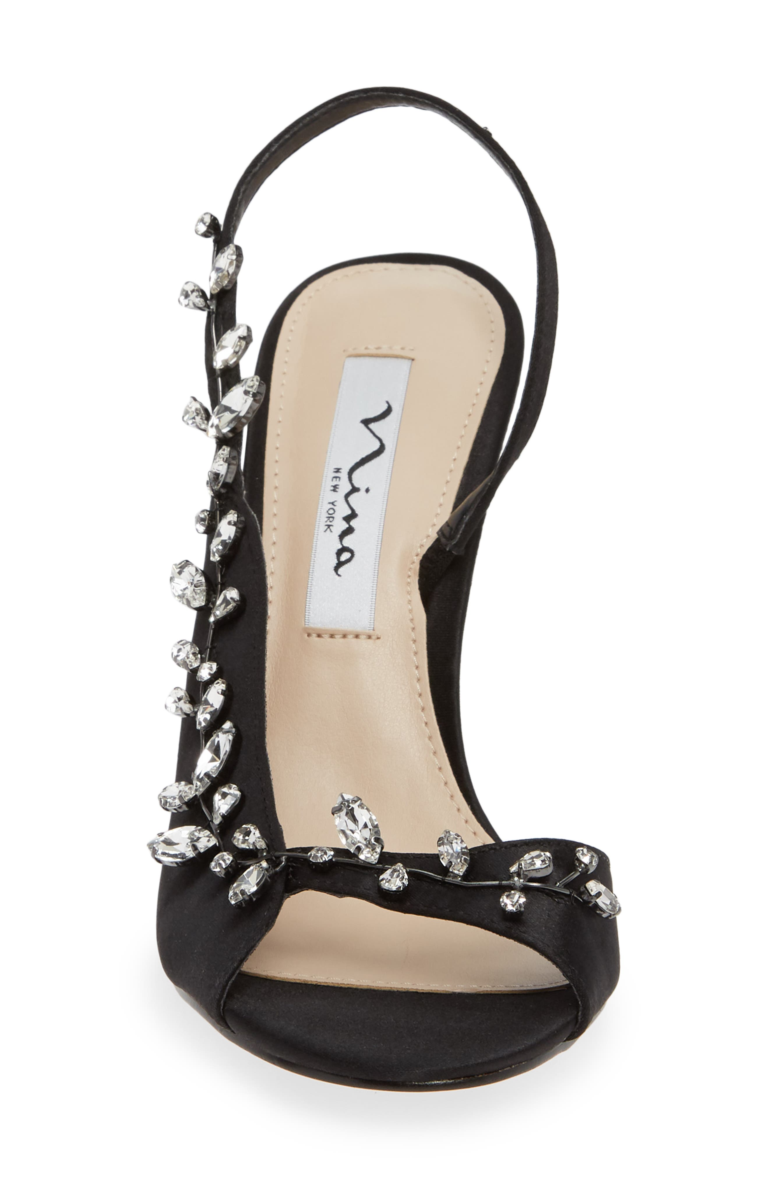 Deanna Embellished Sandal,                             Alternate thumbnail 4, color,                             BLACK SATIN