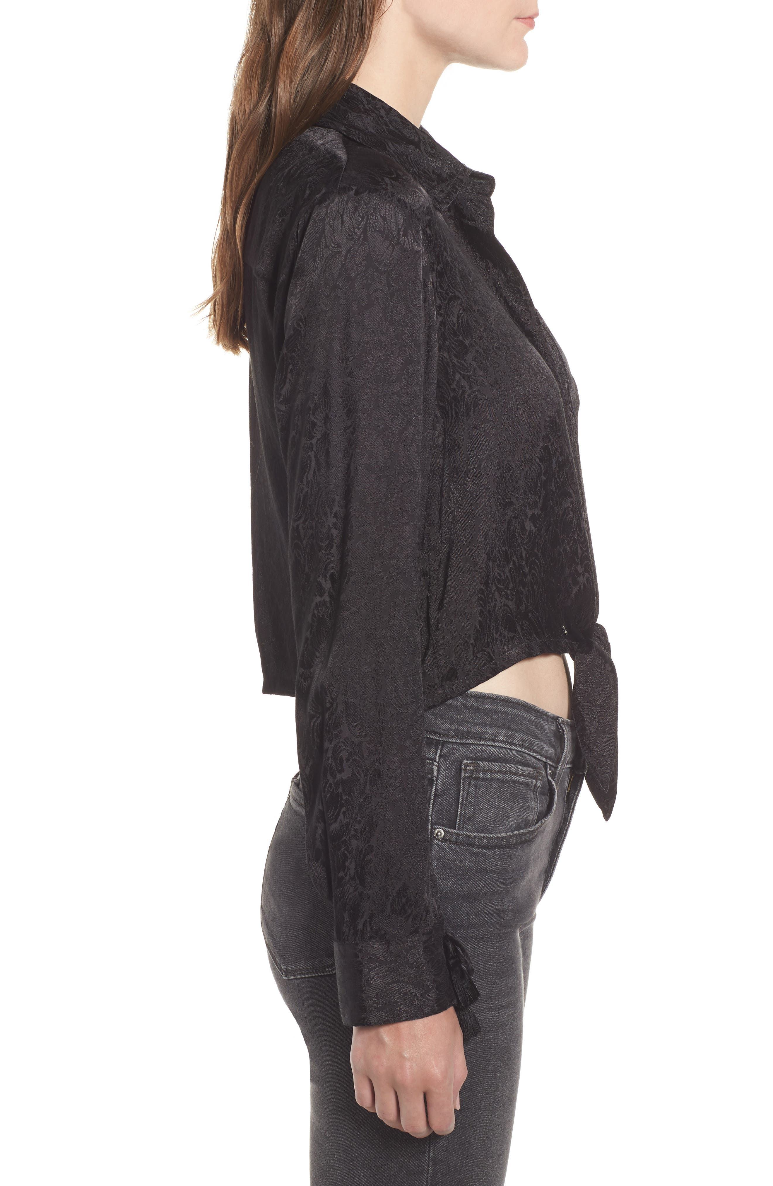 Embroidered Button Tie Blouse,                             Alternate thumbnail 3, color,                             BLACK
