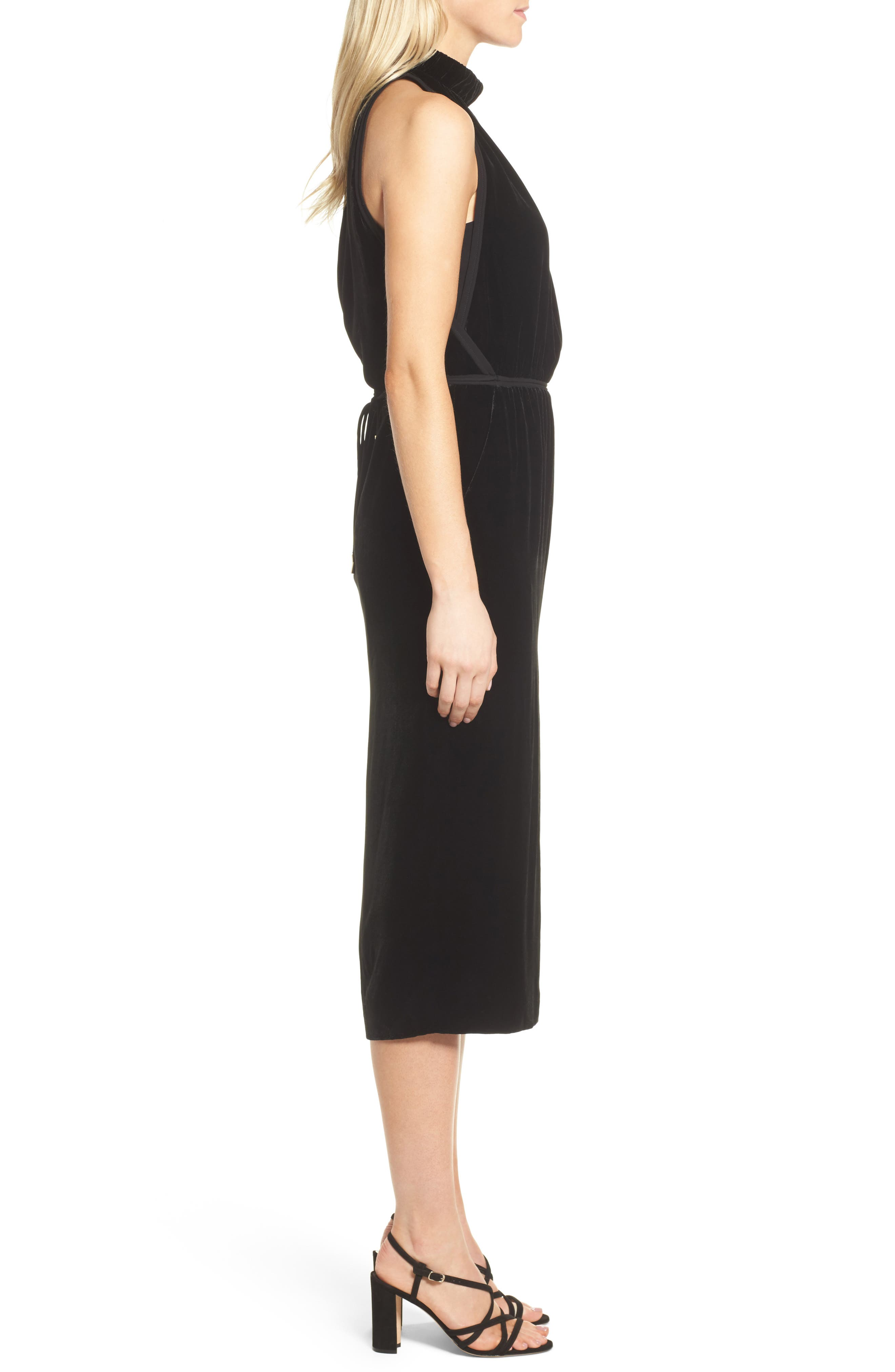Difosia Velvet Midi Dress,                             Alternate thumbnail 3, color,                             001
