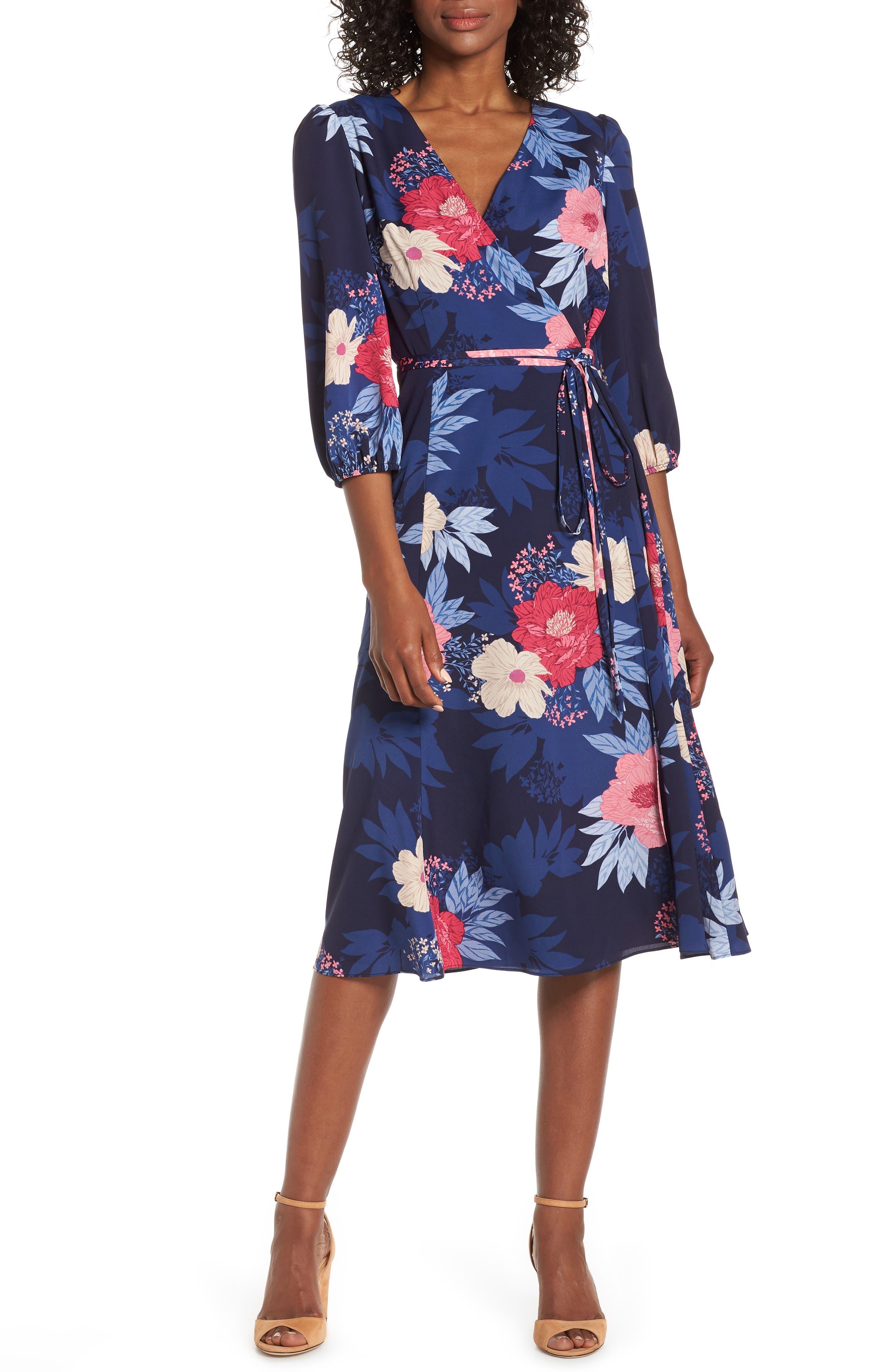 Eliza J Floral Print Faux Wrap Midi Dress, 8 (similar to 1) - Blue