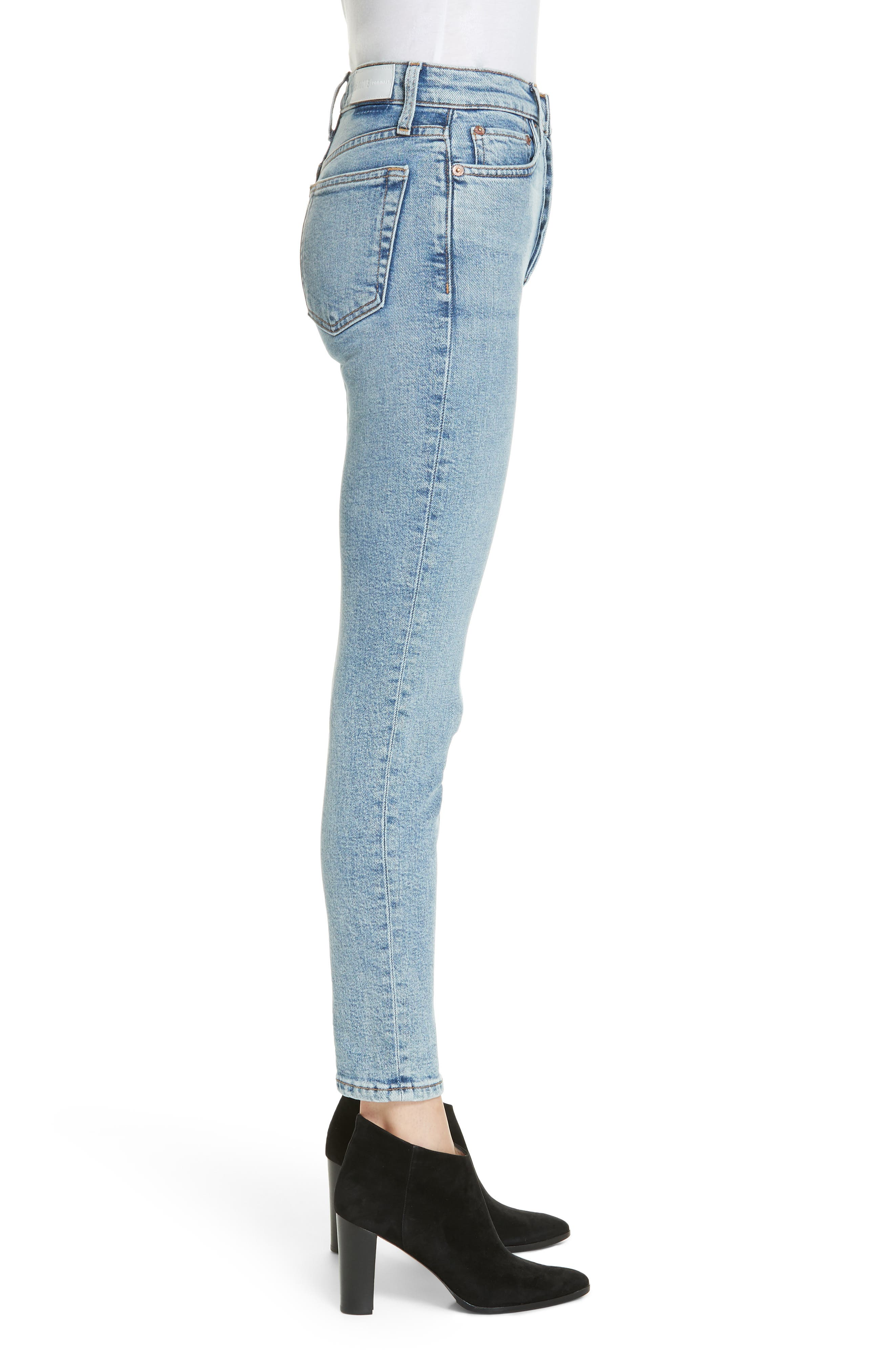 Comfort Stretch High Waist Ankle Crop Jeans,                             Alternate thumbnail 3, color,                             MID 9 0S