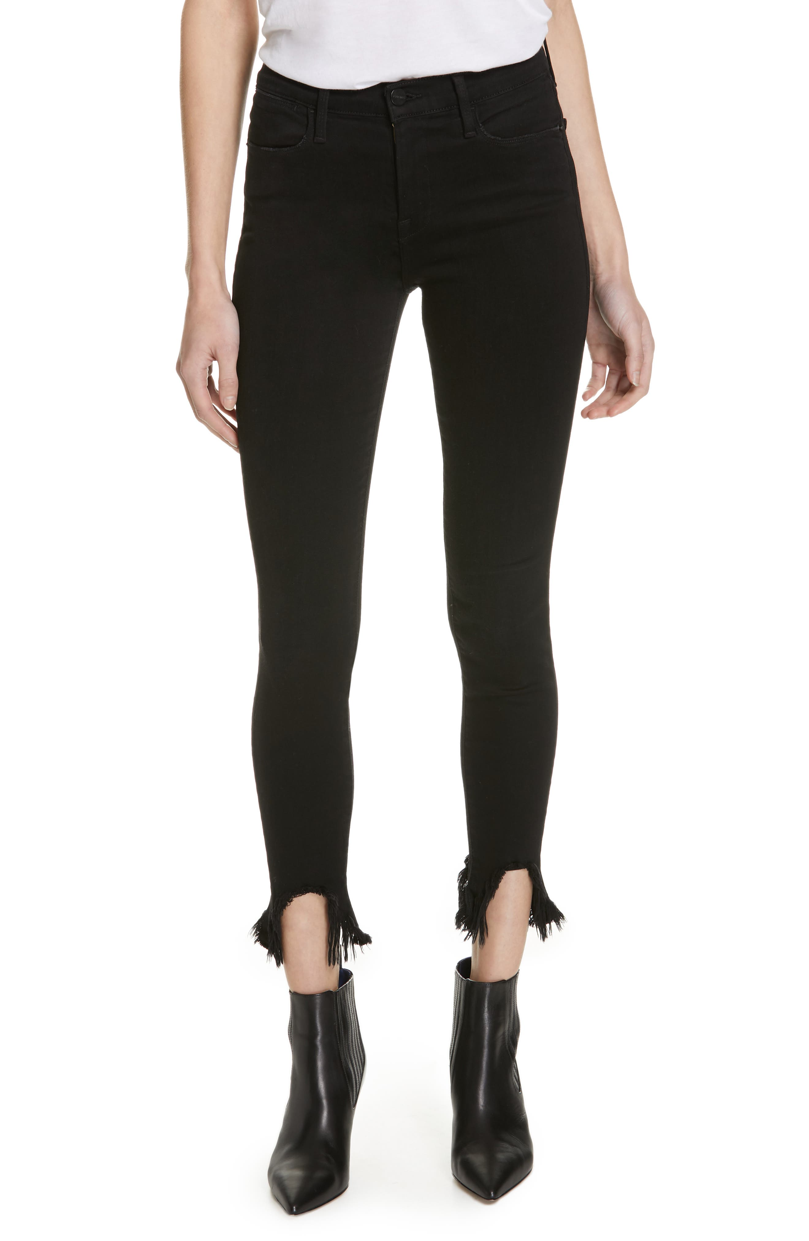 Le High Shredded Curved Hem Skinny Jeans,                             Main thumbnail 1, color,                             BLACKFISH