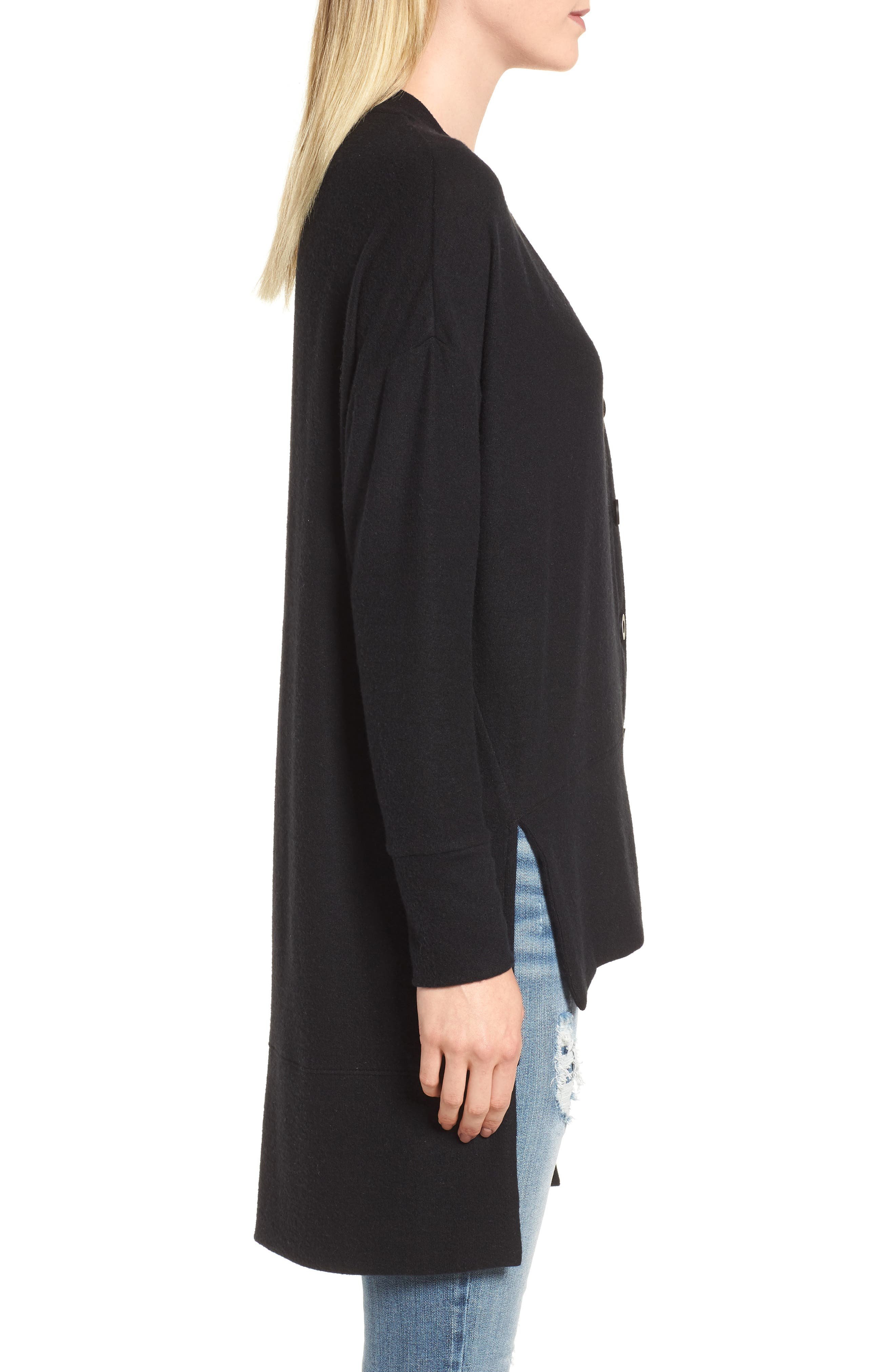 High/Low Easy Cardigan,                             Alternate thumbnail 3, color,                             BLACK
