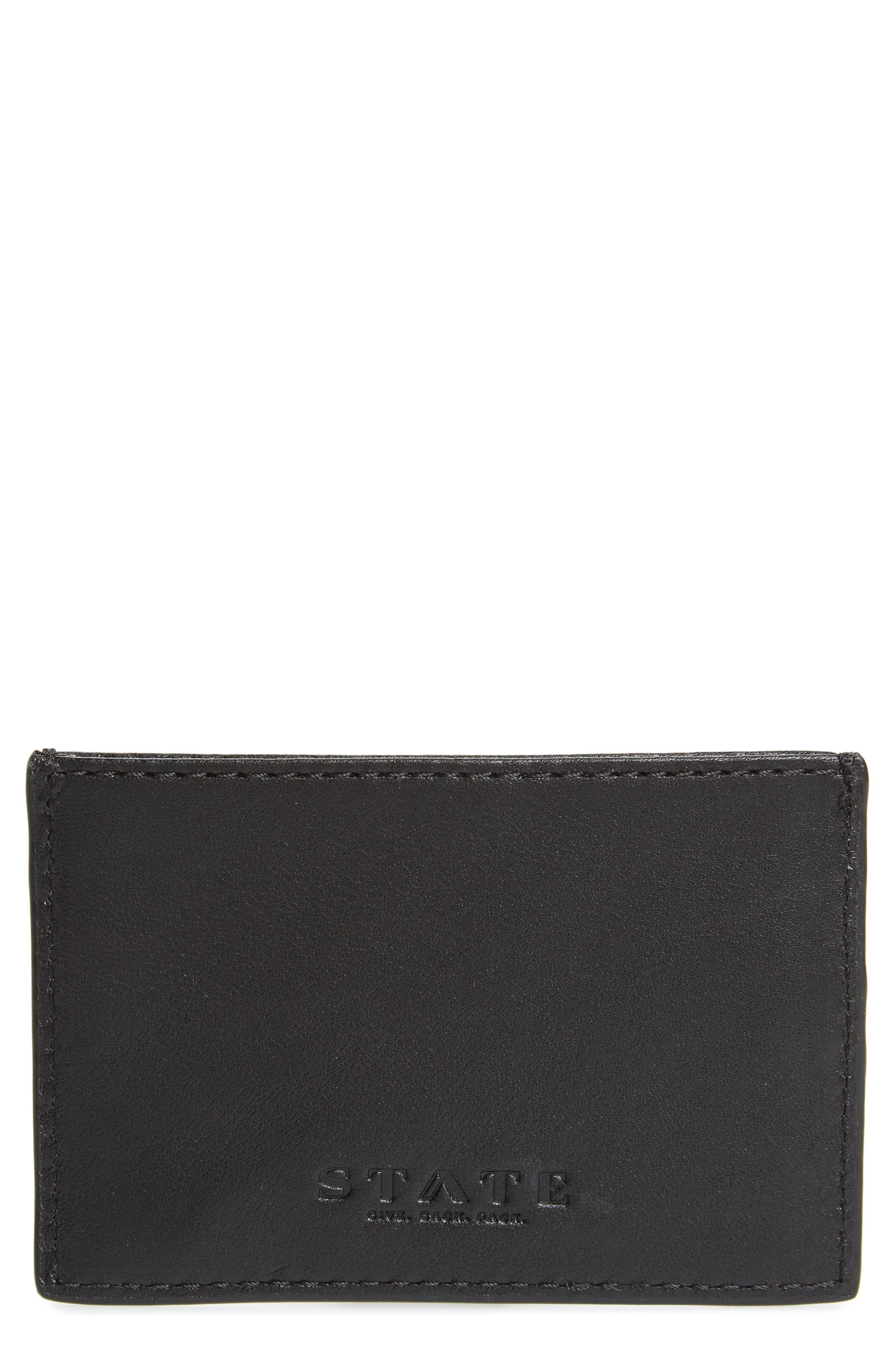 Parkville Monaco Leather Card Case,                         Main,                         color, BLACK