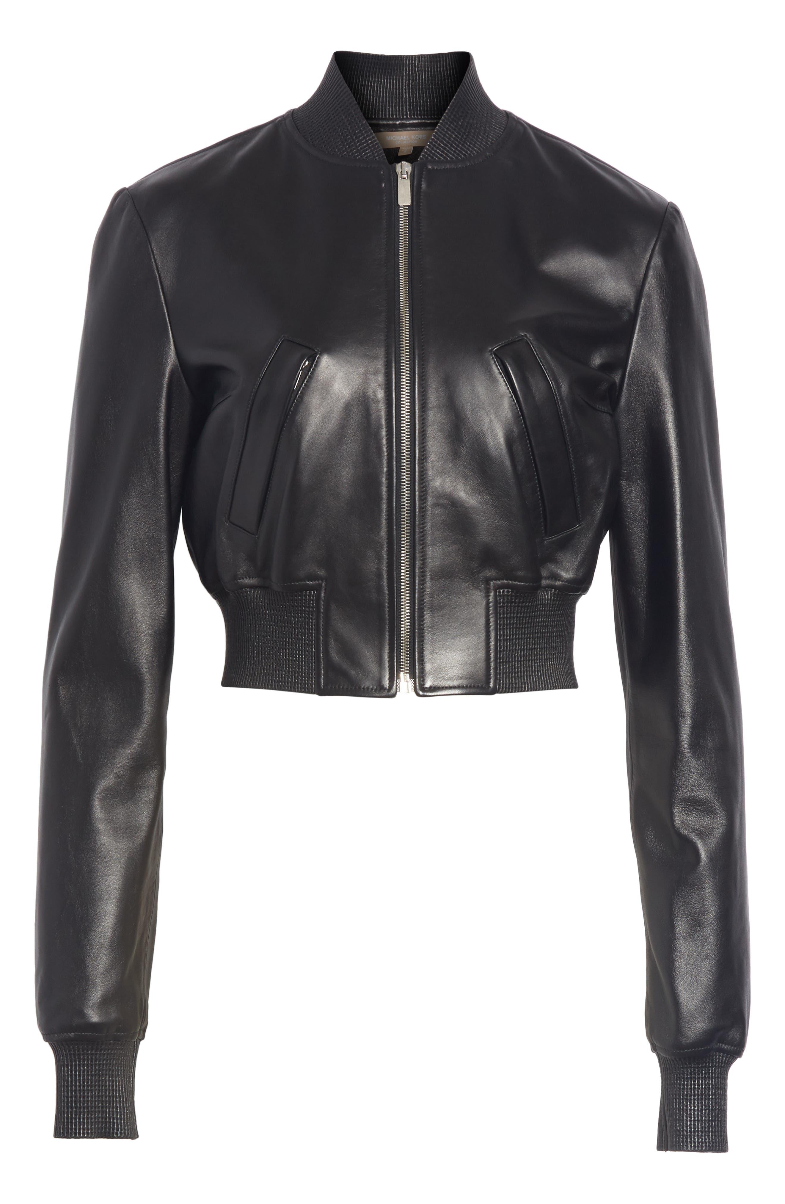 Leather Bomber Jacket,                             Alternate thumbnail 5, color,                             001