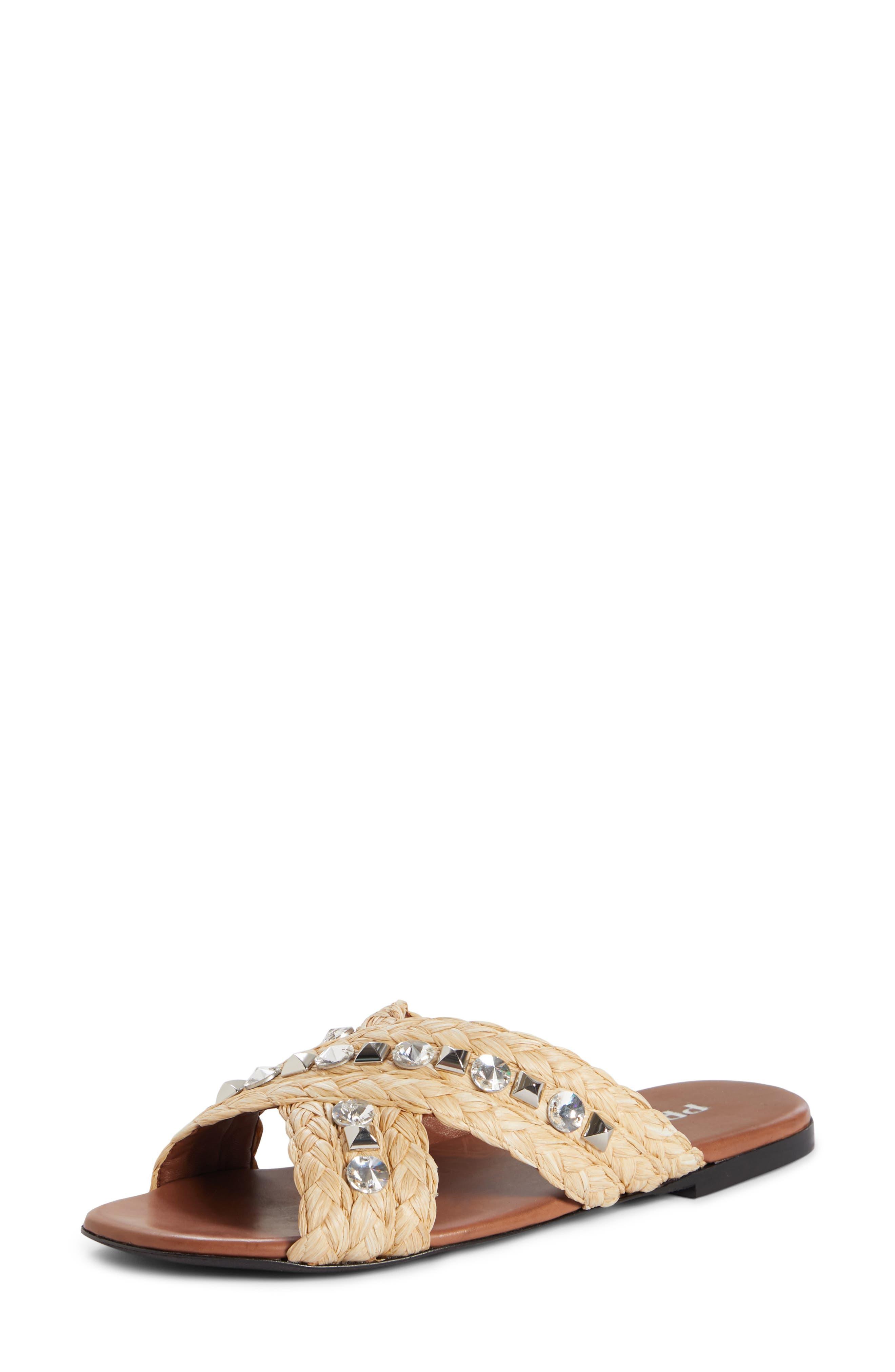 PRADA,                             Embellished Slide Sandal,                             Main thumbnail 1, color,                             NATURAL RAFFIA