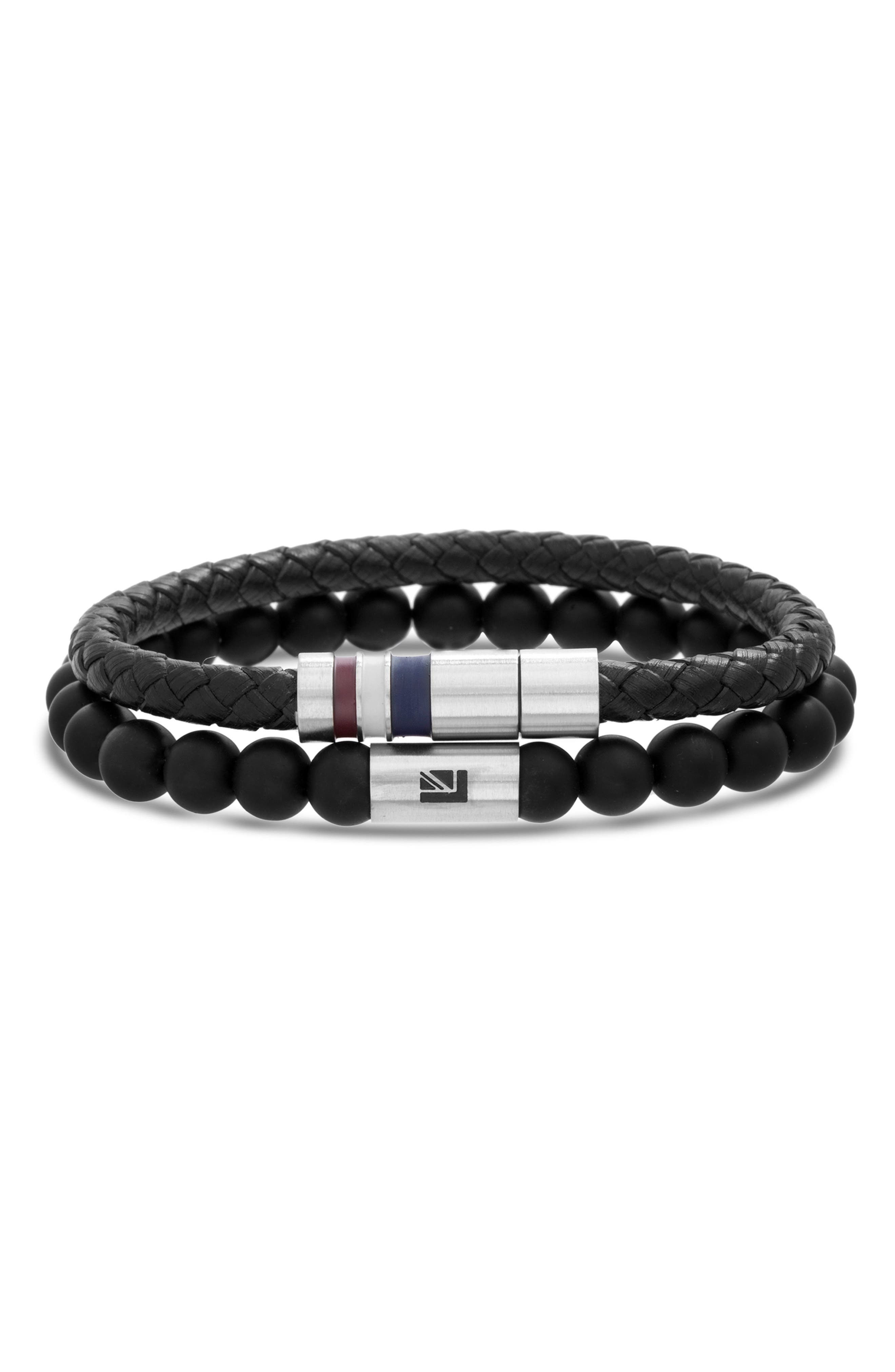 Leather & Bead Bracelet Set,                             Main thumbnail 1, color,                             BLACK