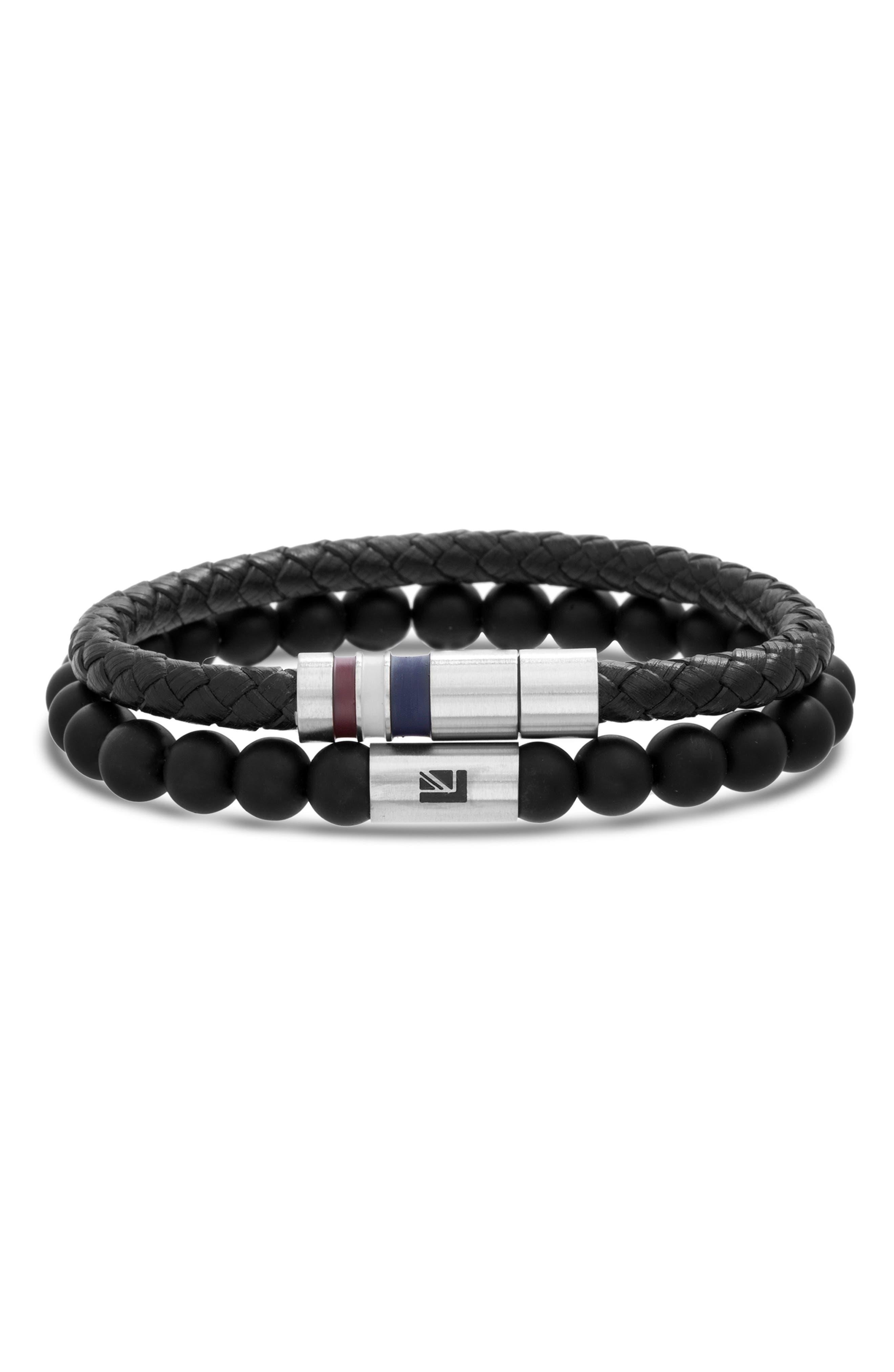Leather & Bead Bracelet Set,                         Main,                         color, BLACK