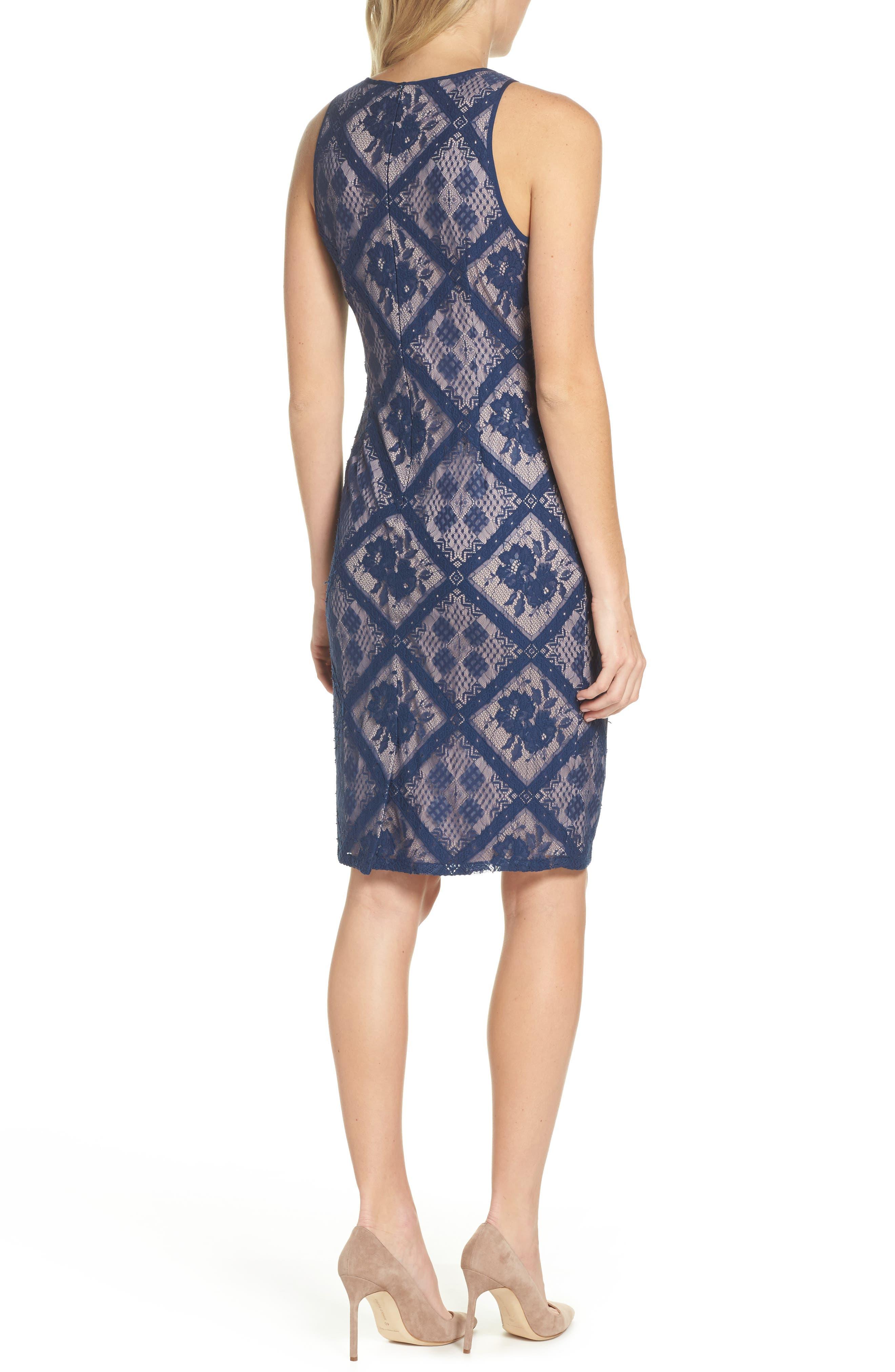 Floral Lace Sheath Dress,                             Alternate thumbnail 2, color,                             412