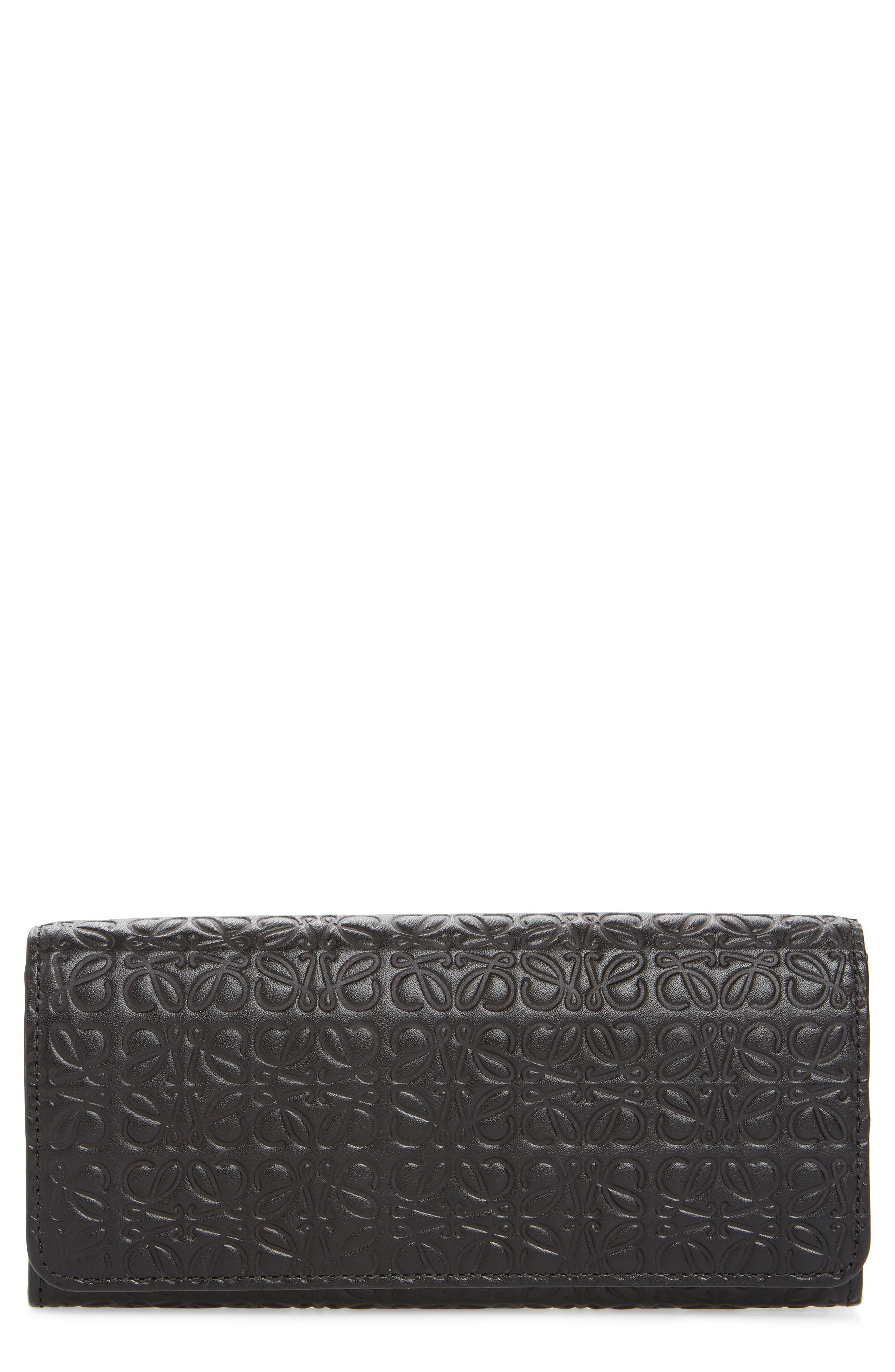 Continental Leather Zip Wallet,                             Main thumbnail 1, color,                             BLACK