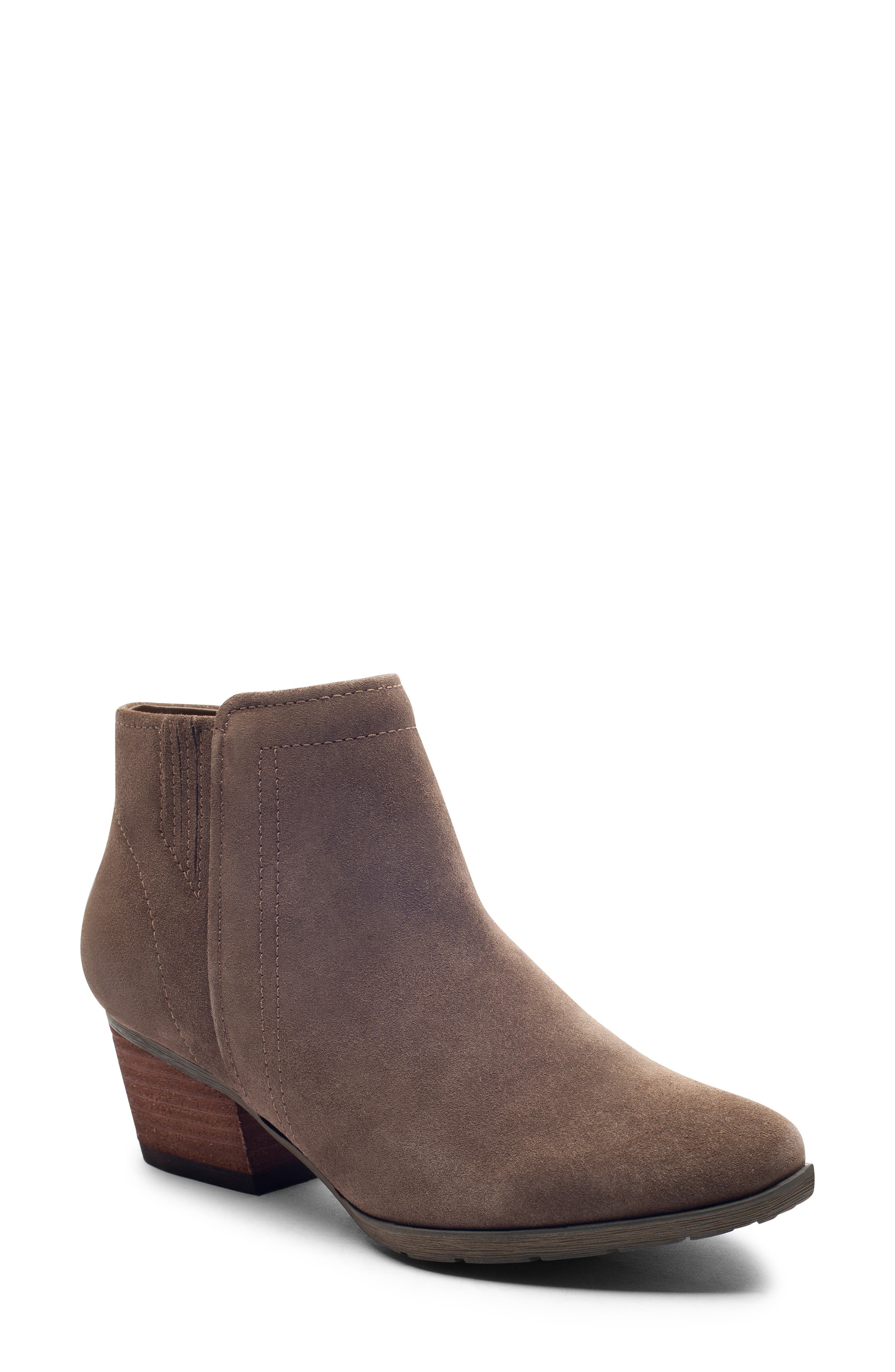 'Valli' Waterproof  Bootie,                             Main thumbnail 1, color,                             DARK TAUPE SUEDE