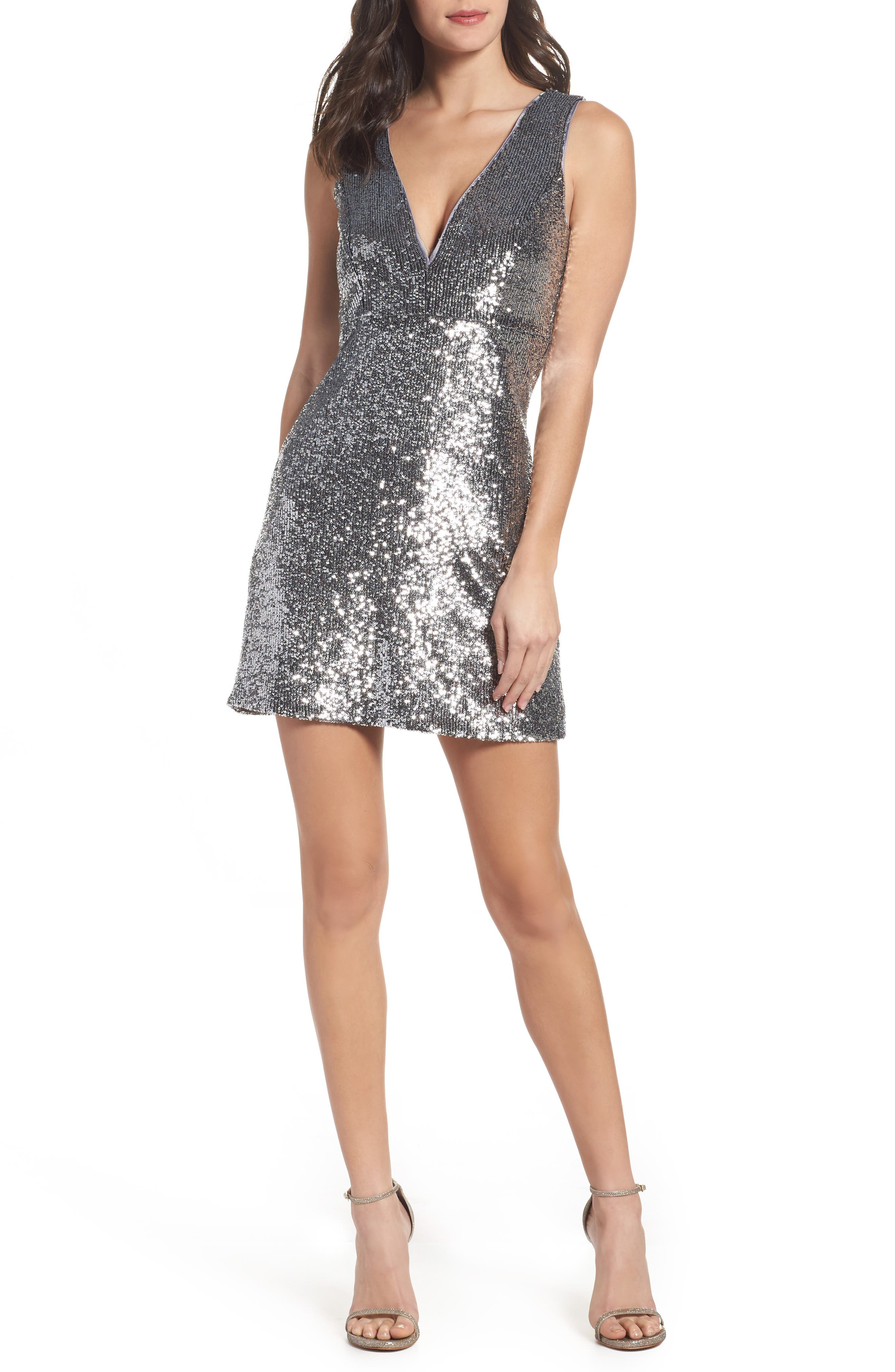 Sequin A-Line Dress,                             Main thumbnail 1, color,