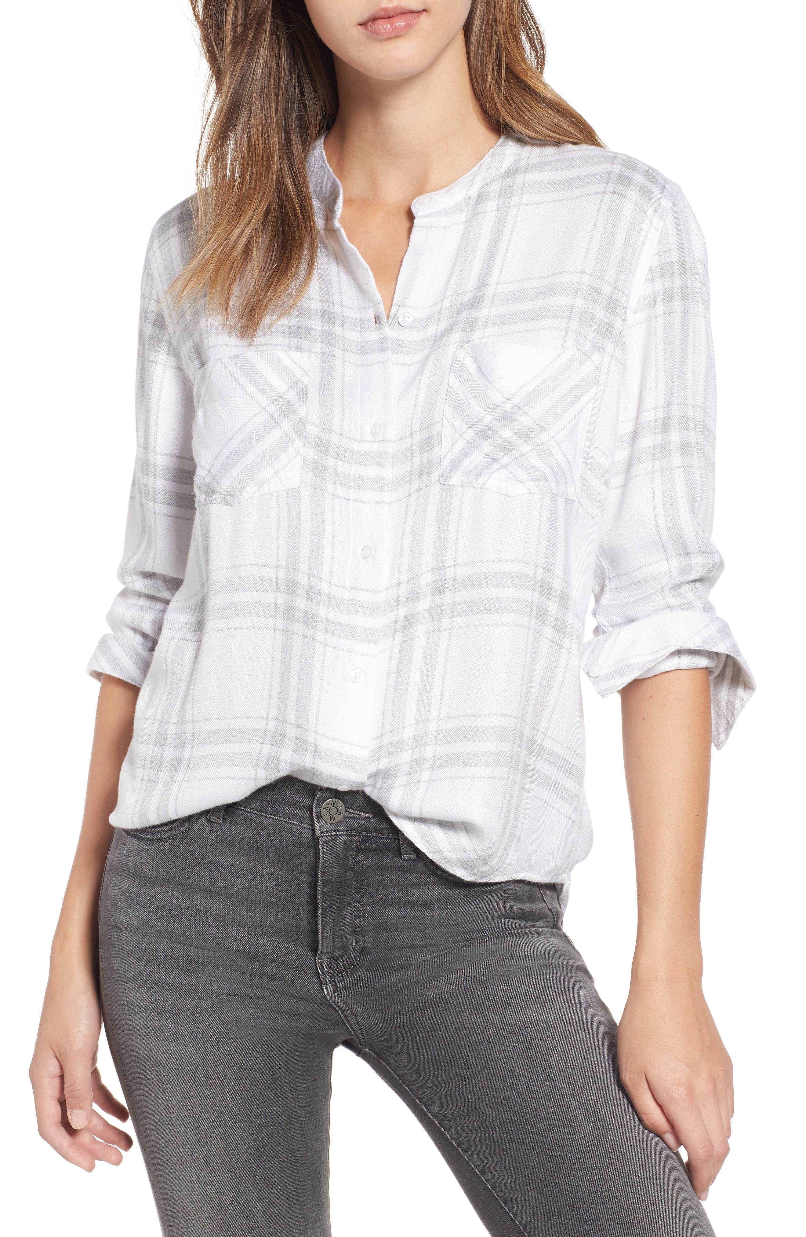 Allison Plaid Shirt,                             Main thumbnail 1, color,                             WHITE SILVER