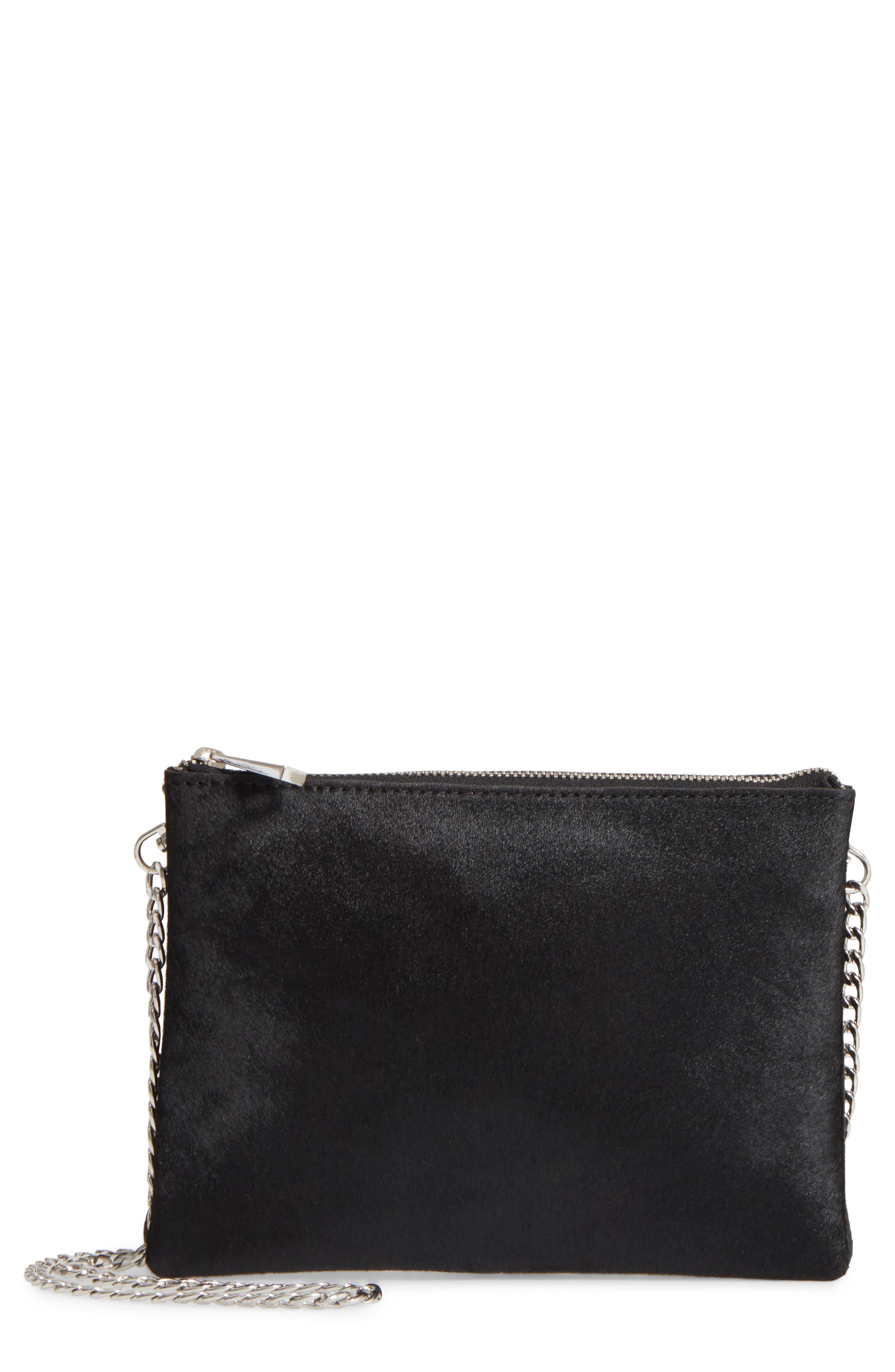 Oakley Leather & Genuine Calf Hair Crossbody Bag,                         Main,                         color, 001