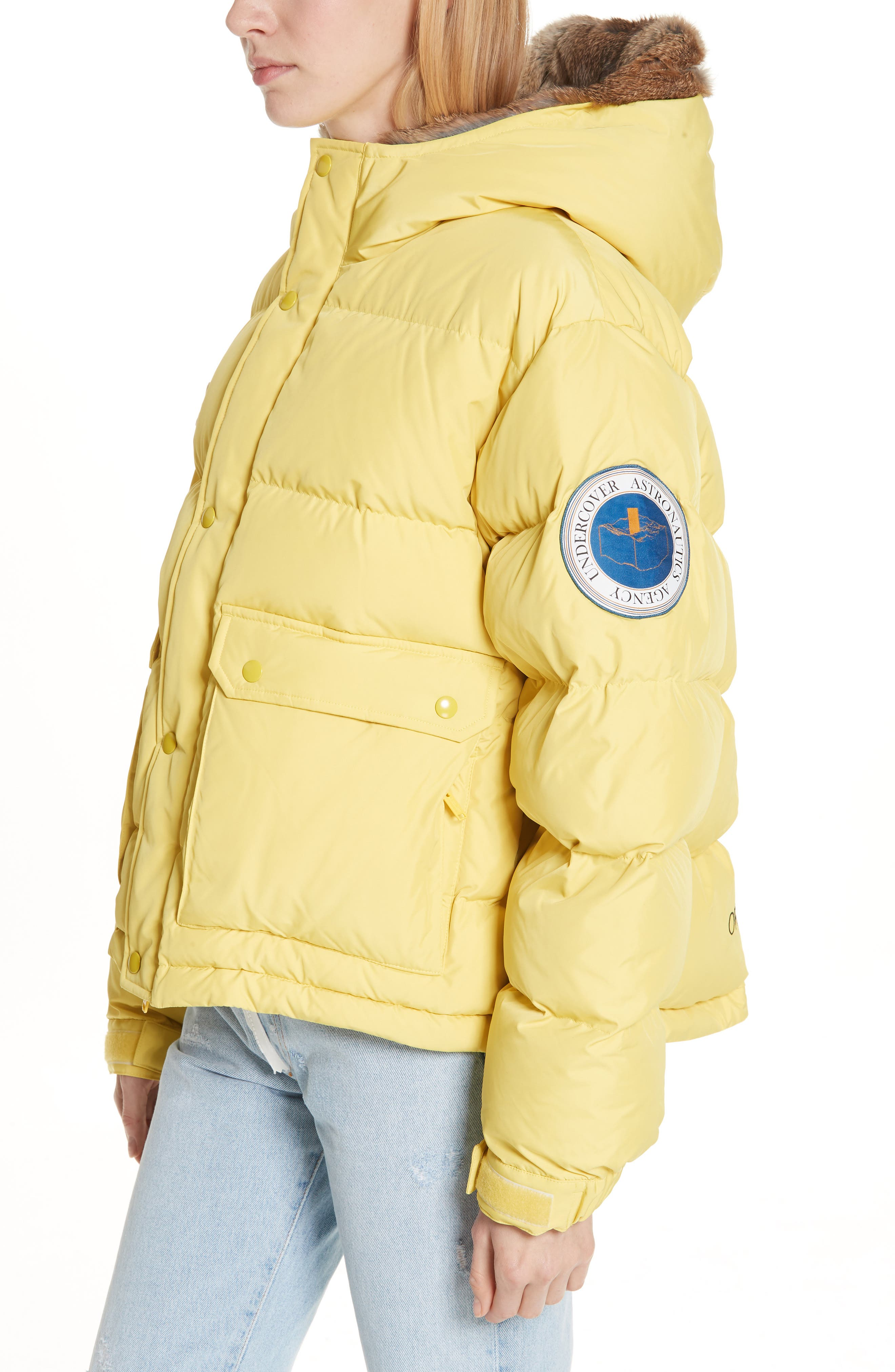 UNDERCOVER,                             Hooded Puffer Coat With Genuine Rabbit Fur Trim,                             Alternate thumbnail 4, color,                             700