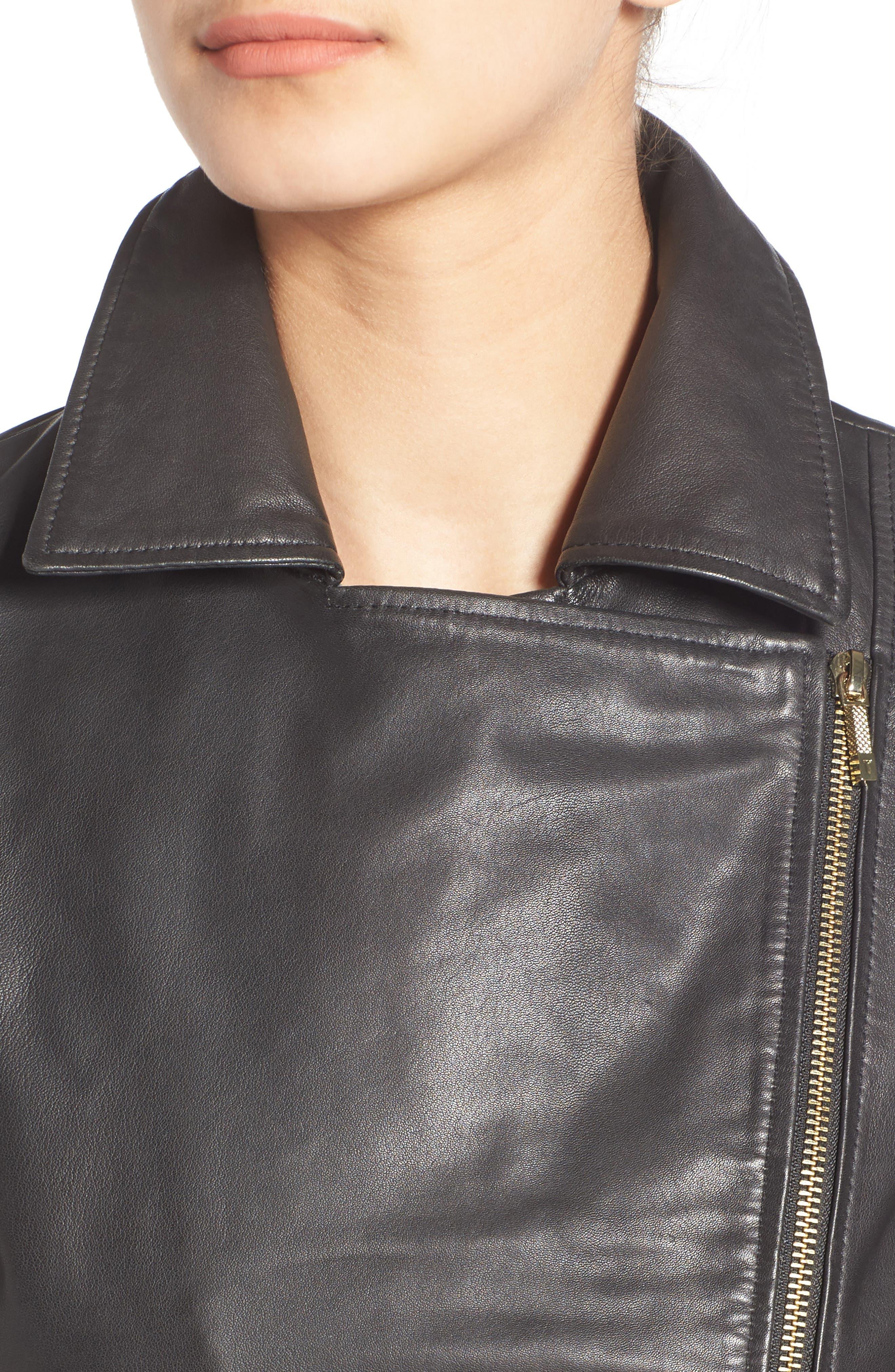 Minimal Leather Biker Jacket,                             Alternate thumbnail 4, color,                             001